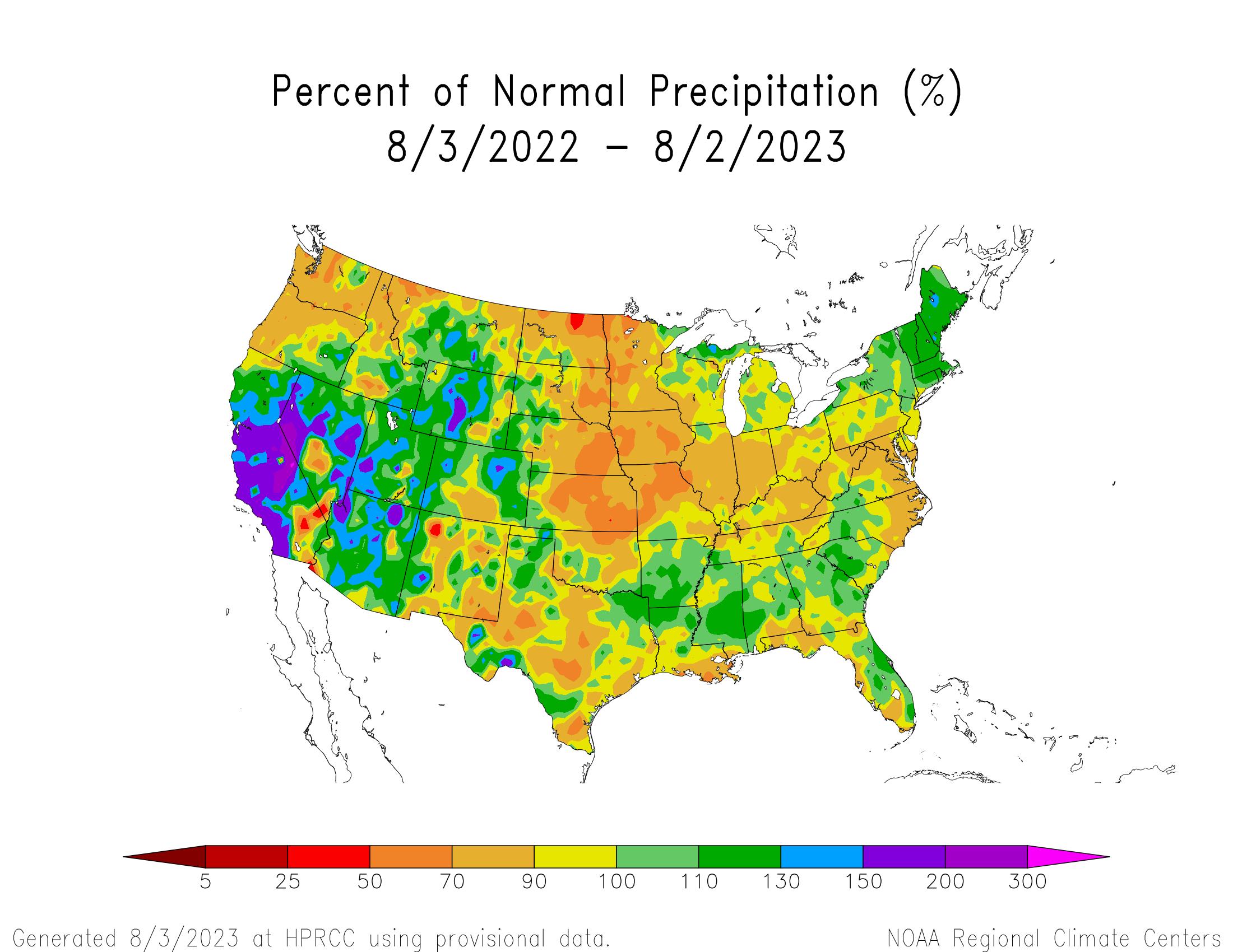 1-year Precipitation Percent of Normal