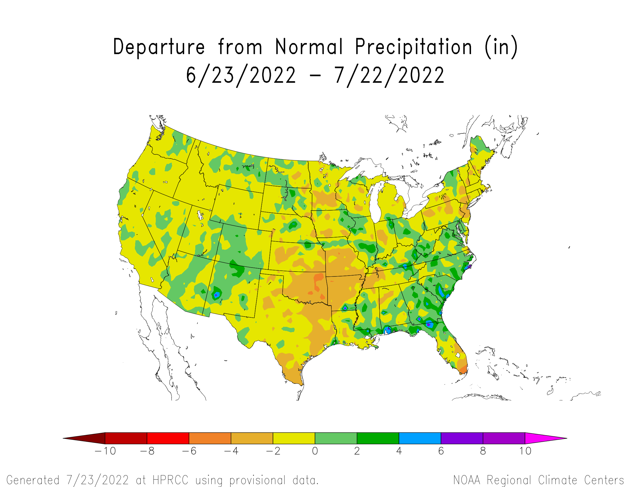 30-day Precipitation Departure from Normal