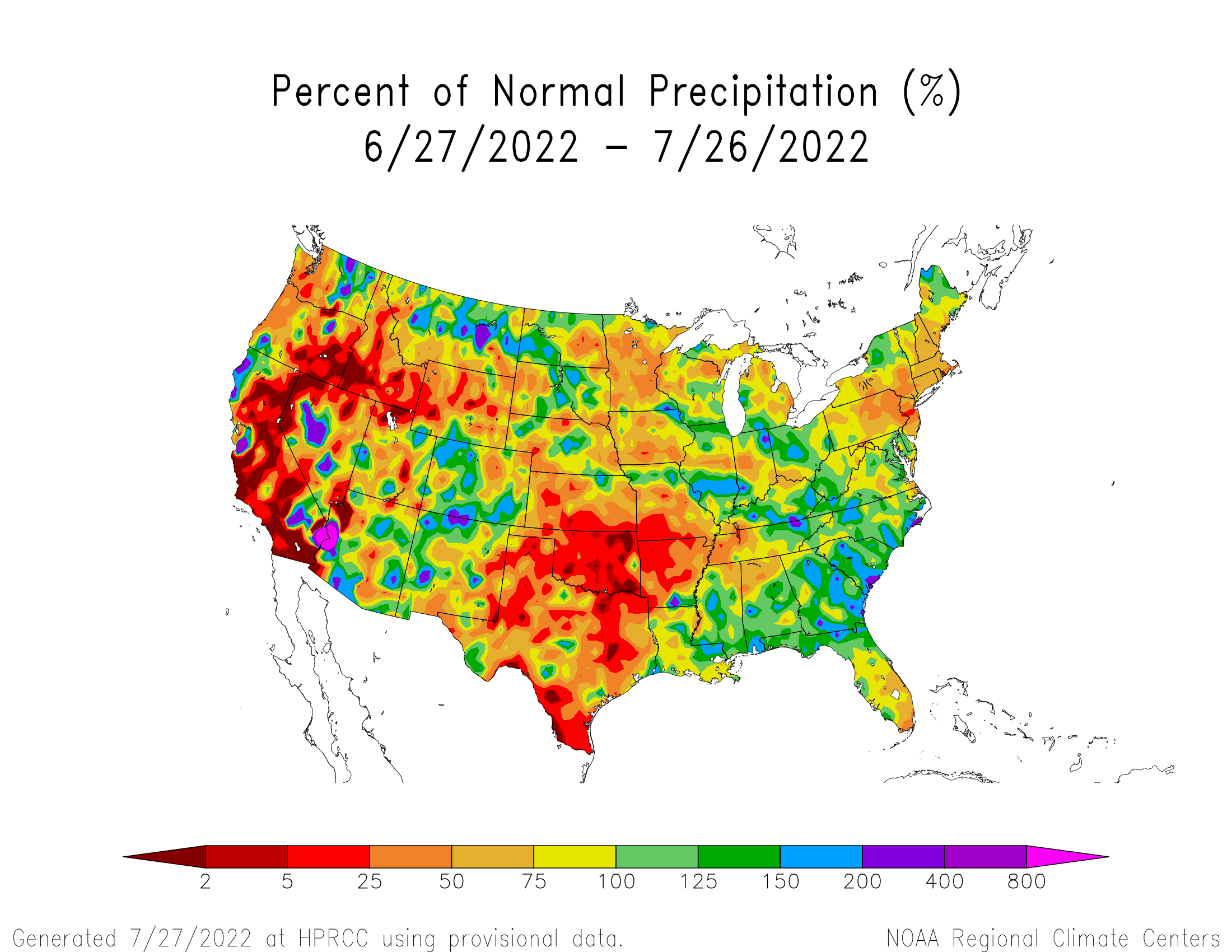 US precip anomaly map