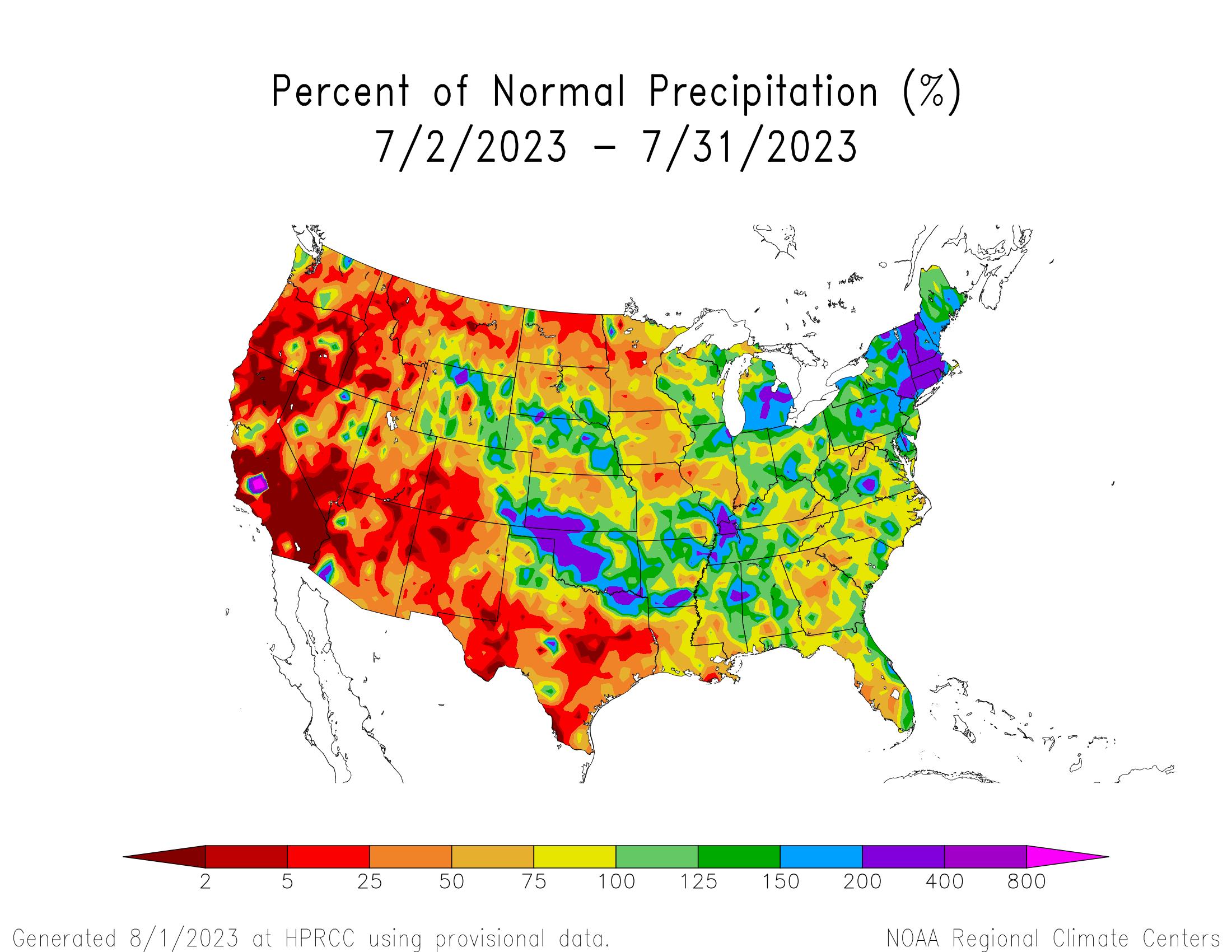 30-day Precipitation Percent of Normal