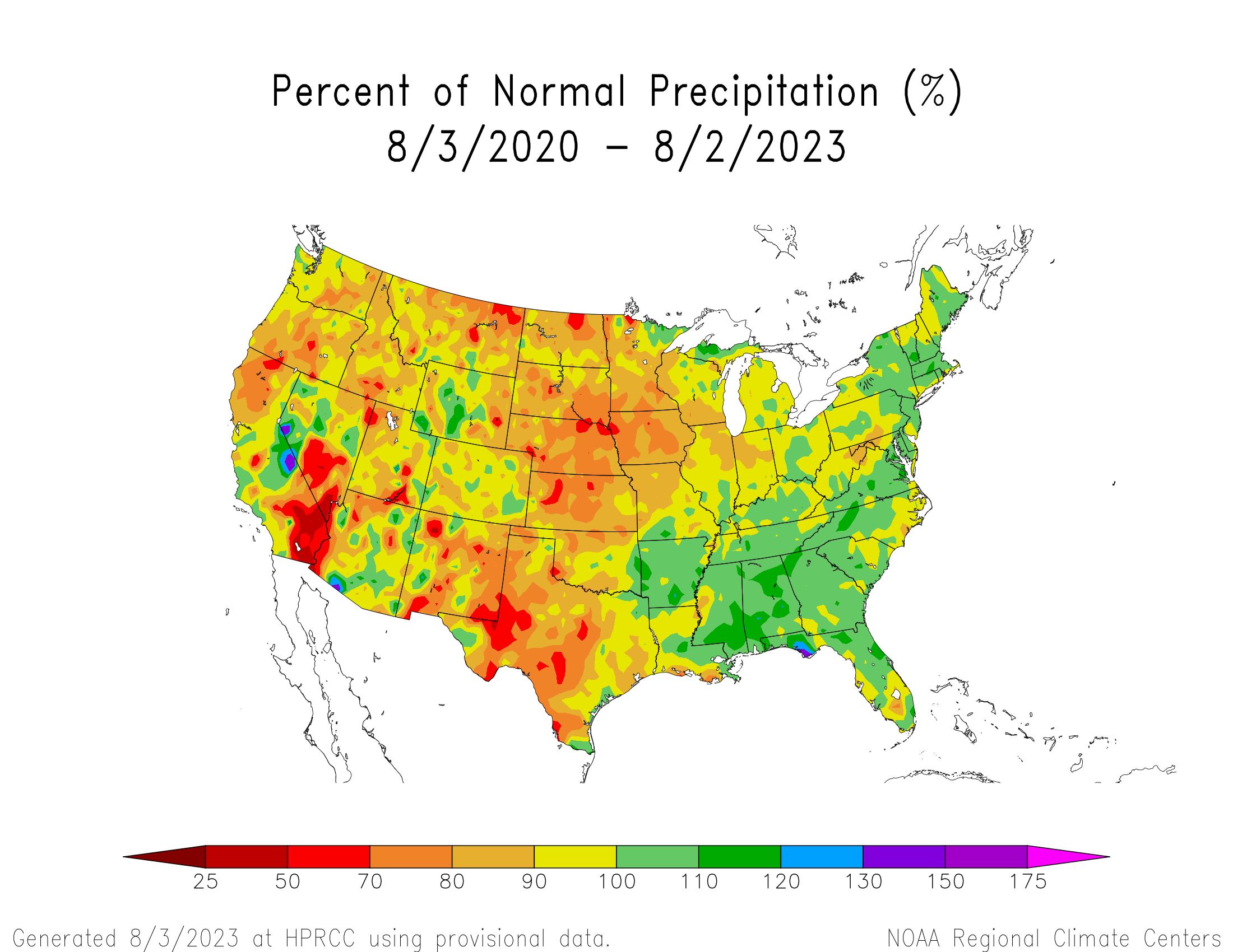 3-year Precipitation Percent of Normal