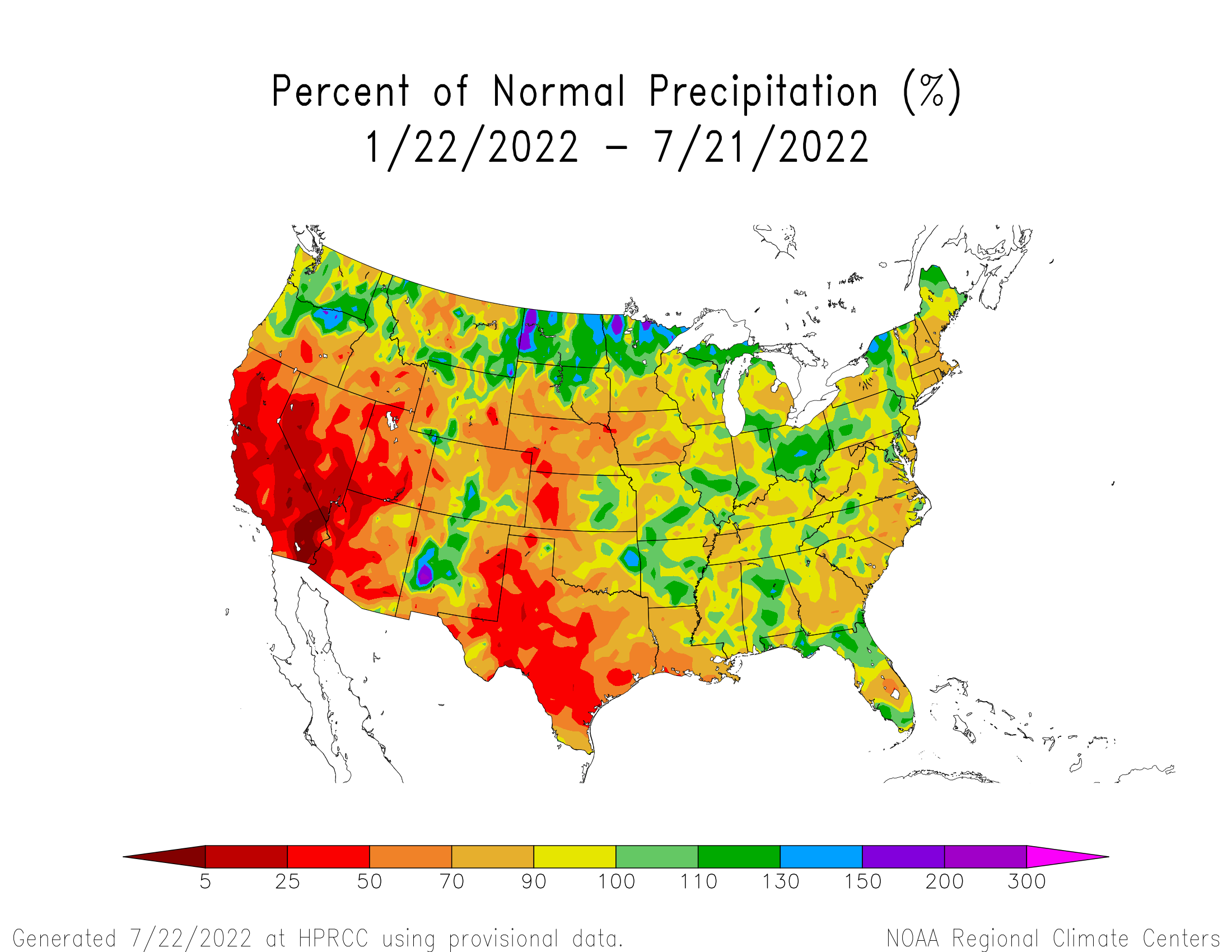 6-month Precipitation Percent of Normal