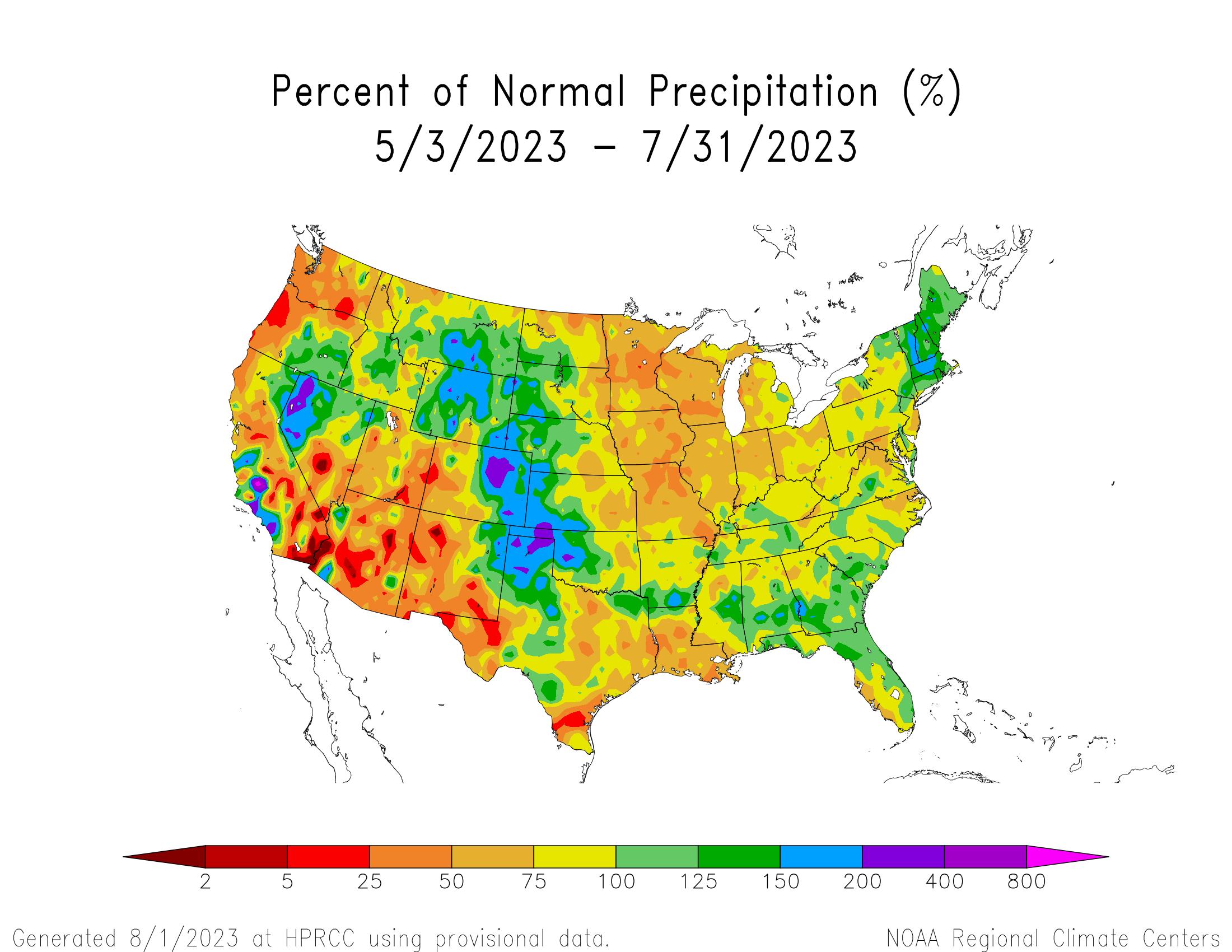 90-day Precipitation Percent of Normal