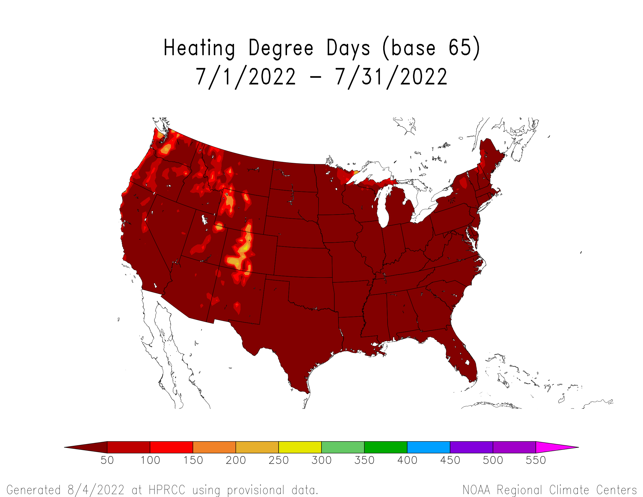 Heating Degree Days (based 65 <sup>o</sup>F) for the last month