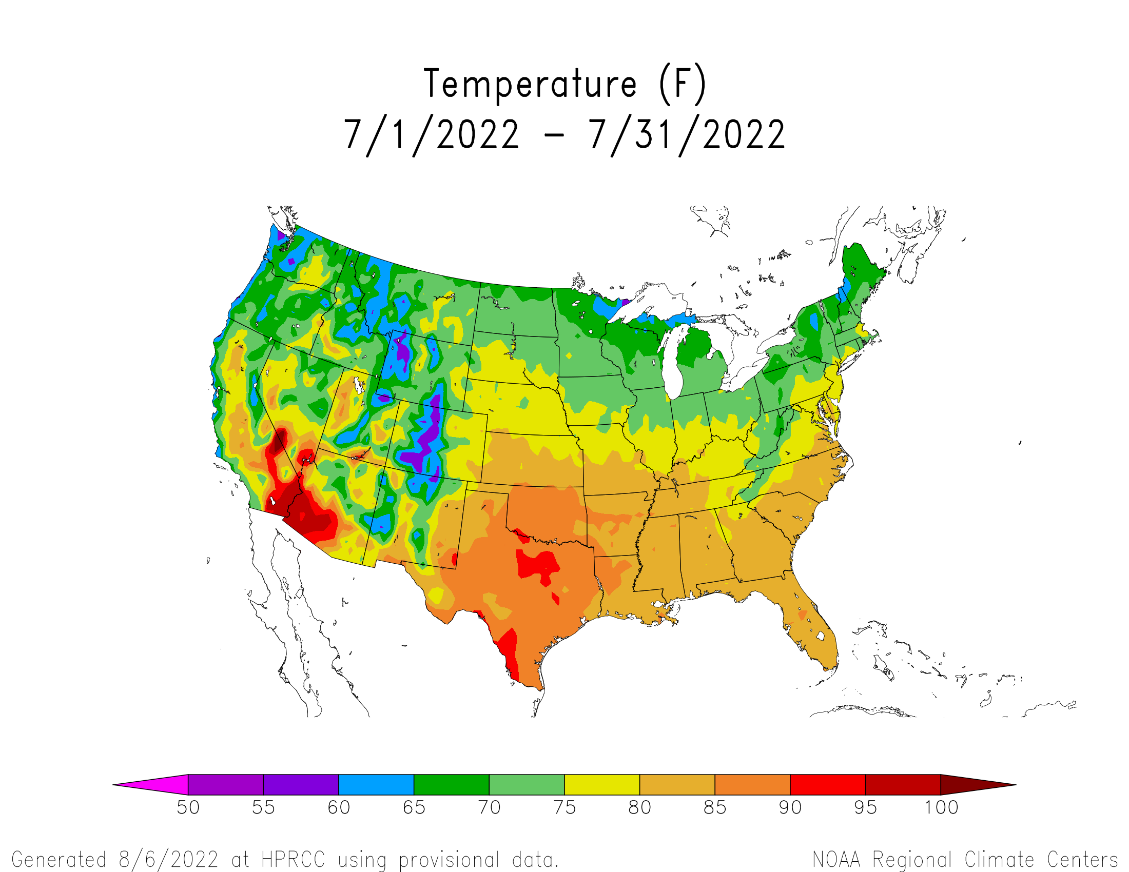 Assessing The US Climate In June National Centers For The - Us temperature map by month