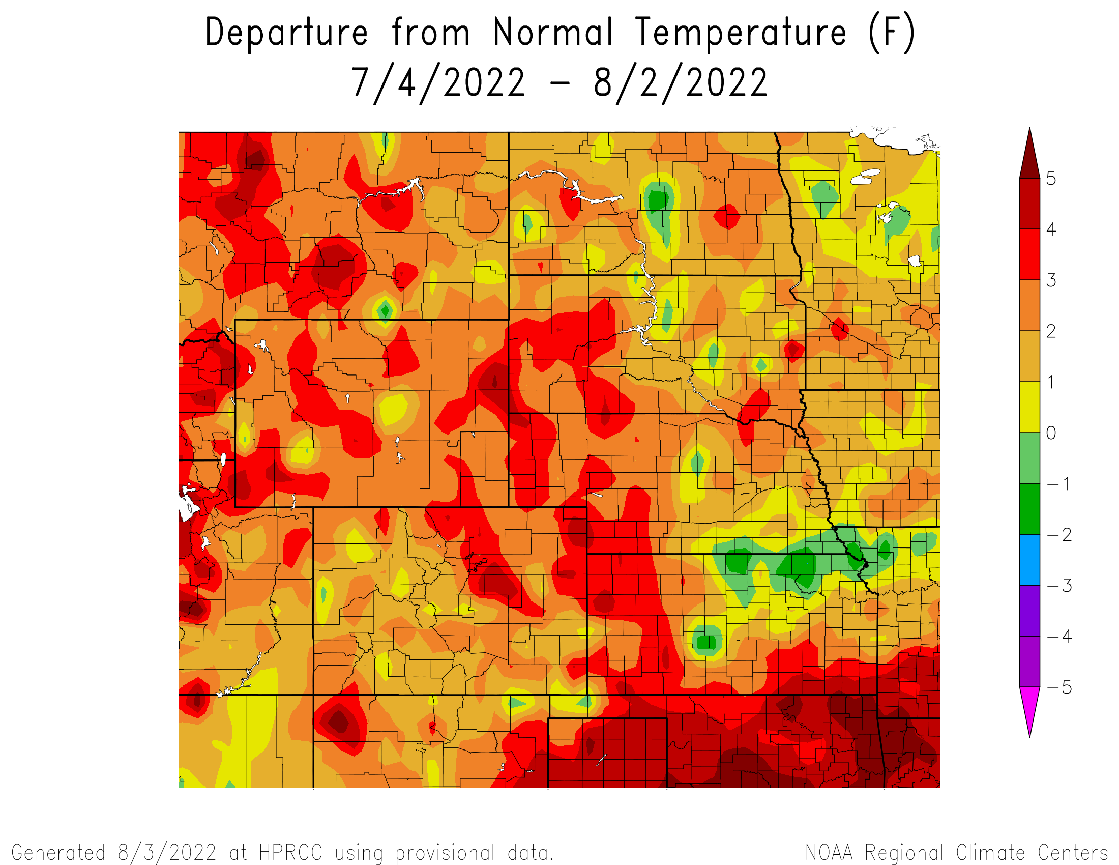 30-day Temperature Anomaly - High Plains