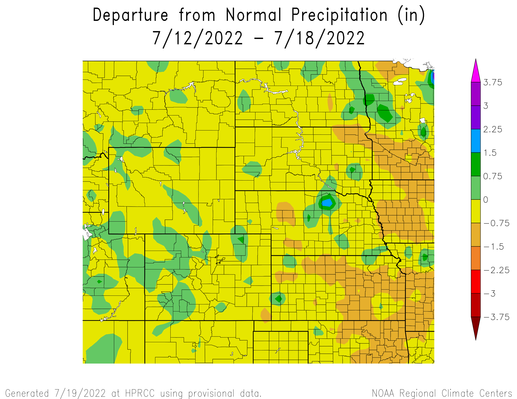 Seven Day Departure from Normal Precipitation