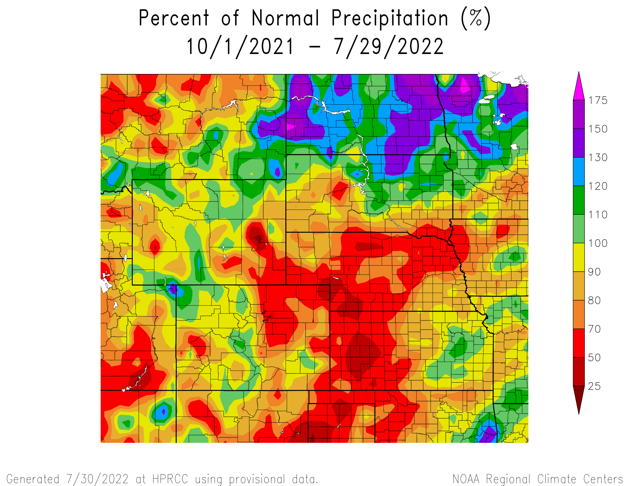 Water Year Precipitation Anomaly - High Plains