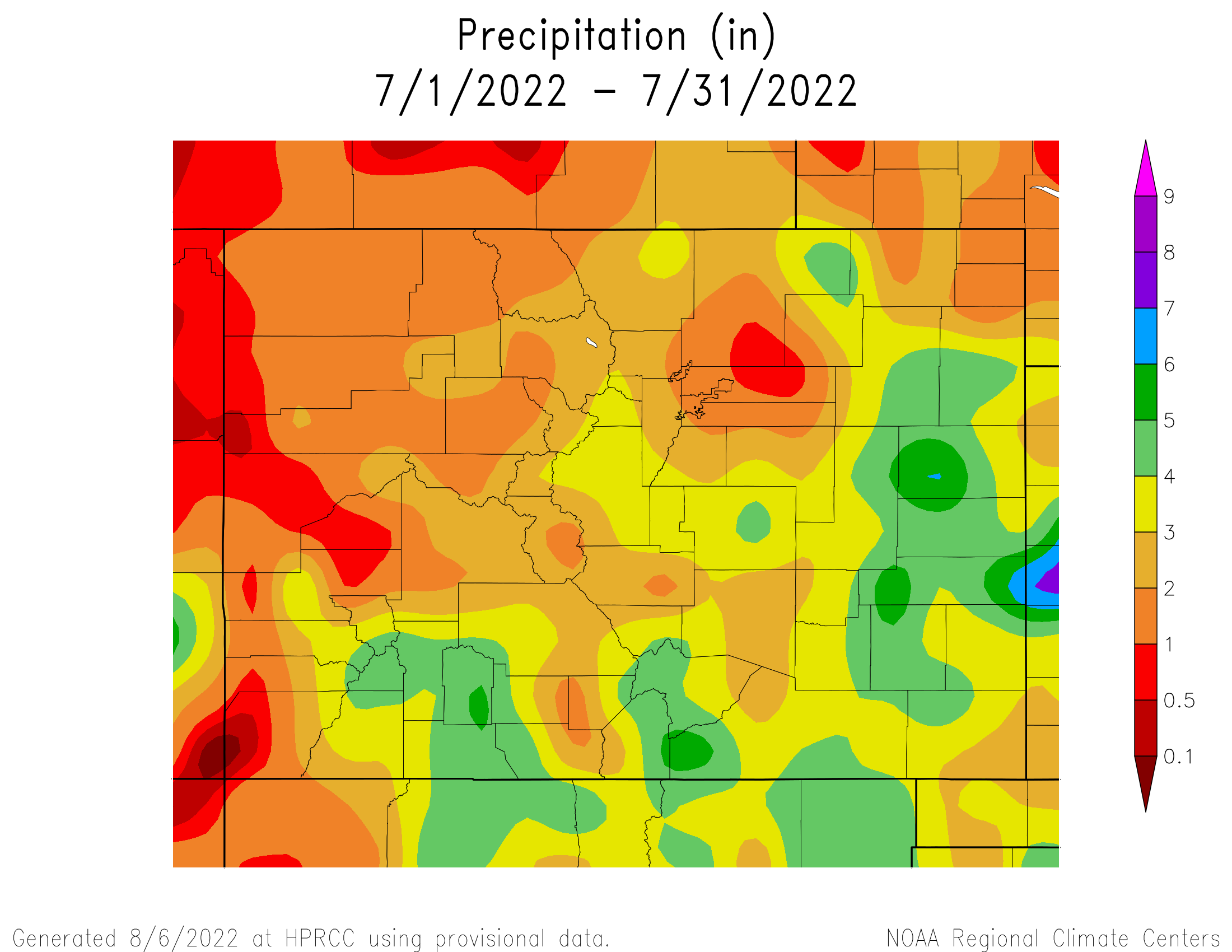 Last Month's Precipitation across Colorado
