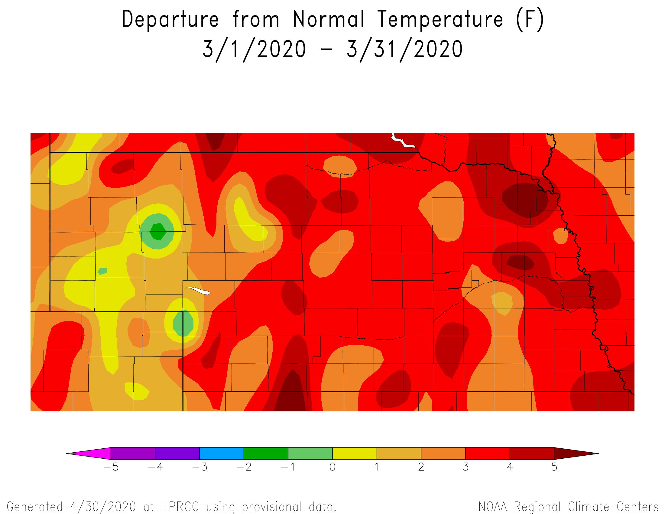 Nebraska departure from normal temps for March 2020