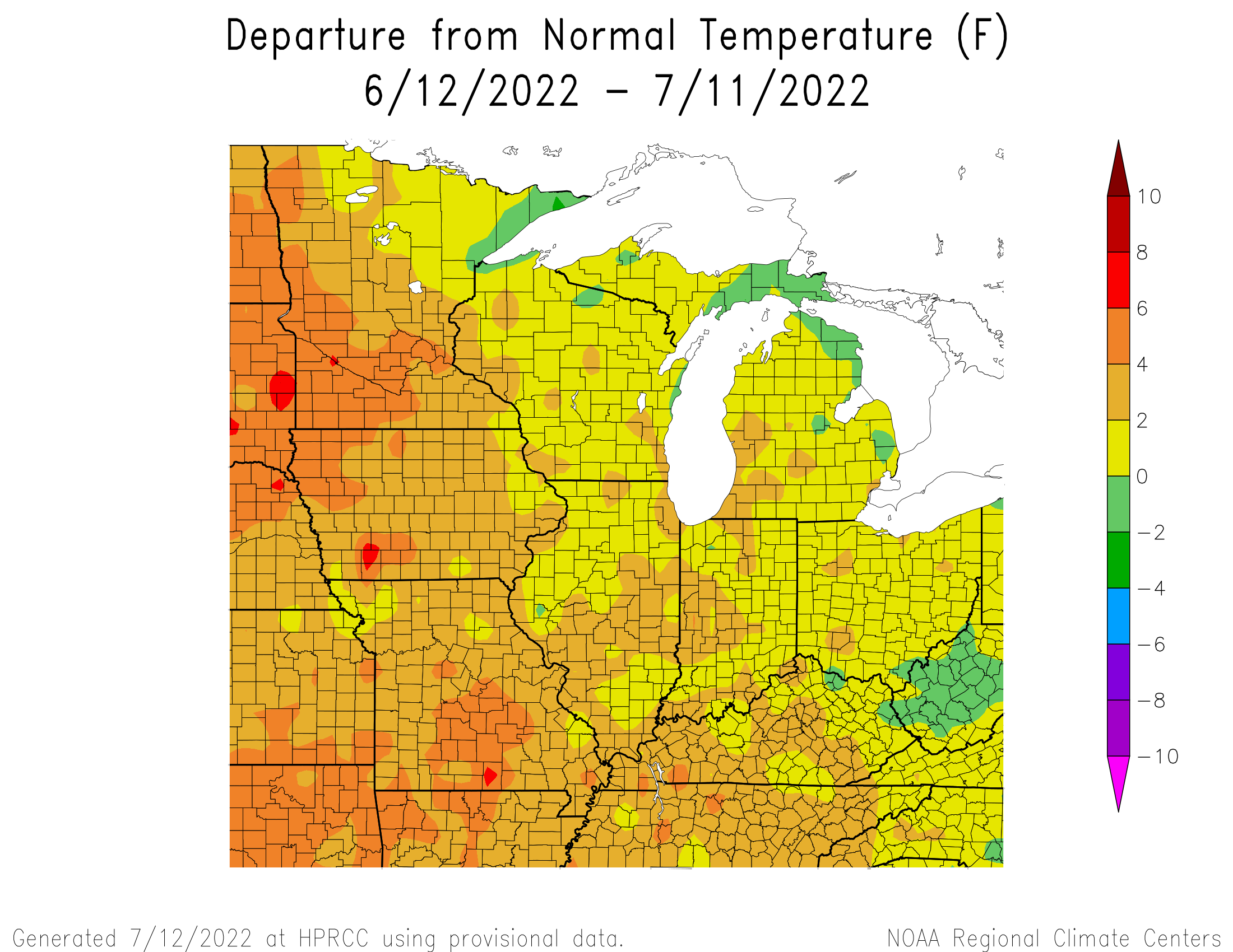 30 Day Temp Departure from Normal