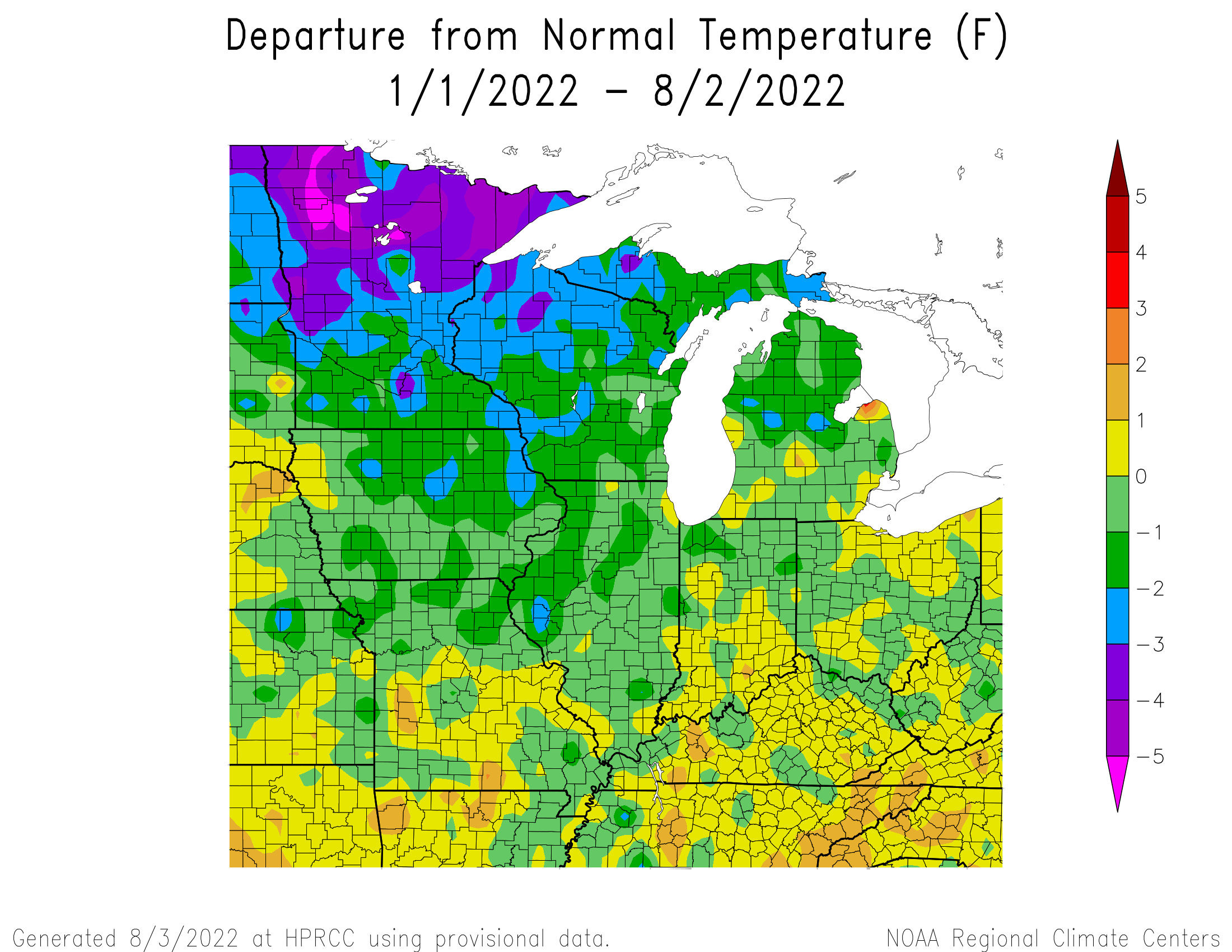 Year to Date Temperature Departure