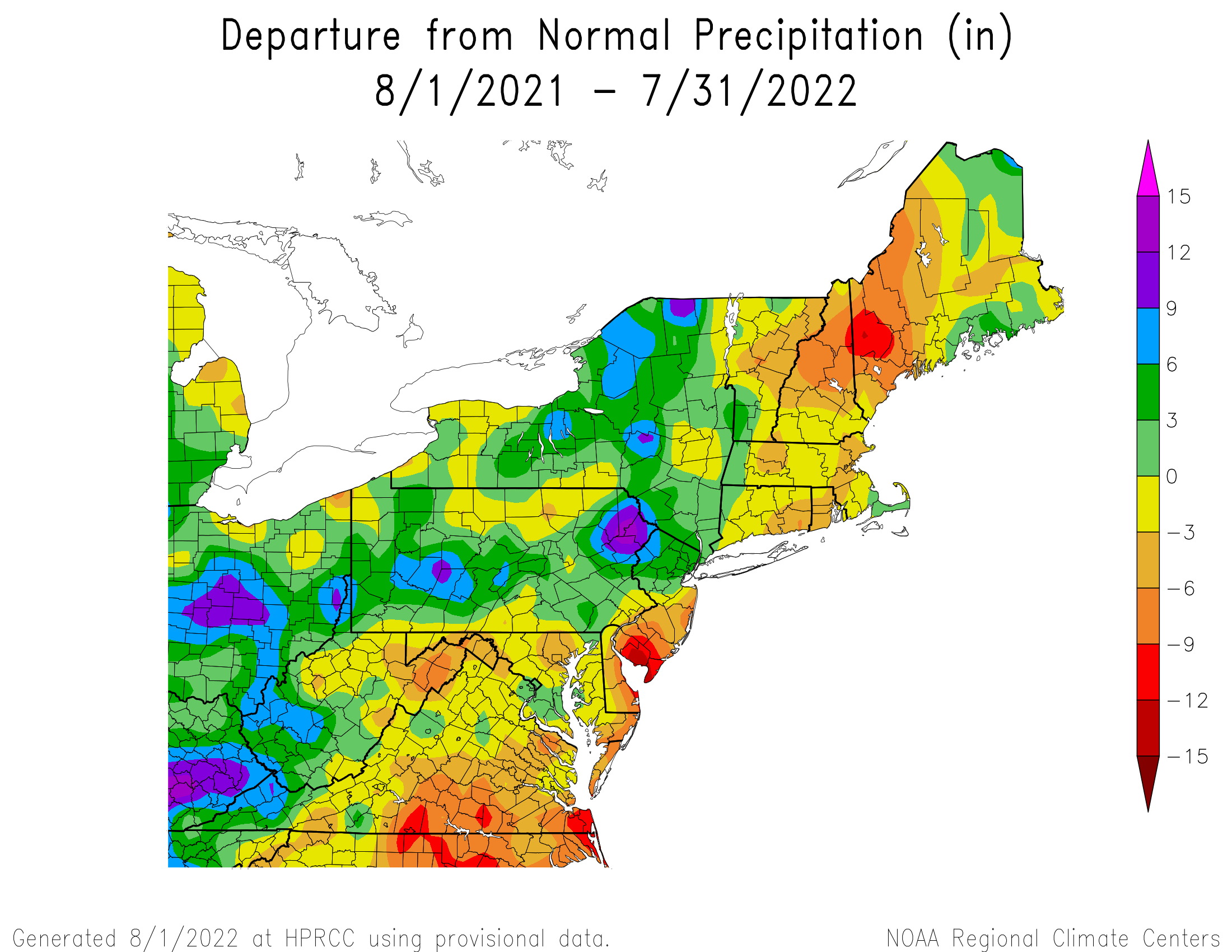 12-Month Total Precipitation Departure