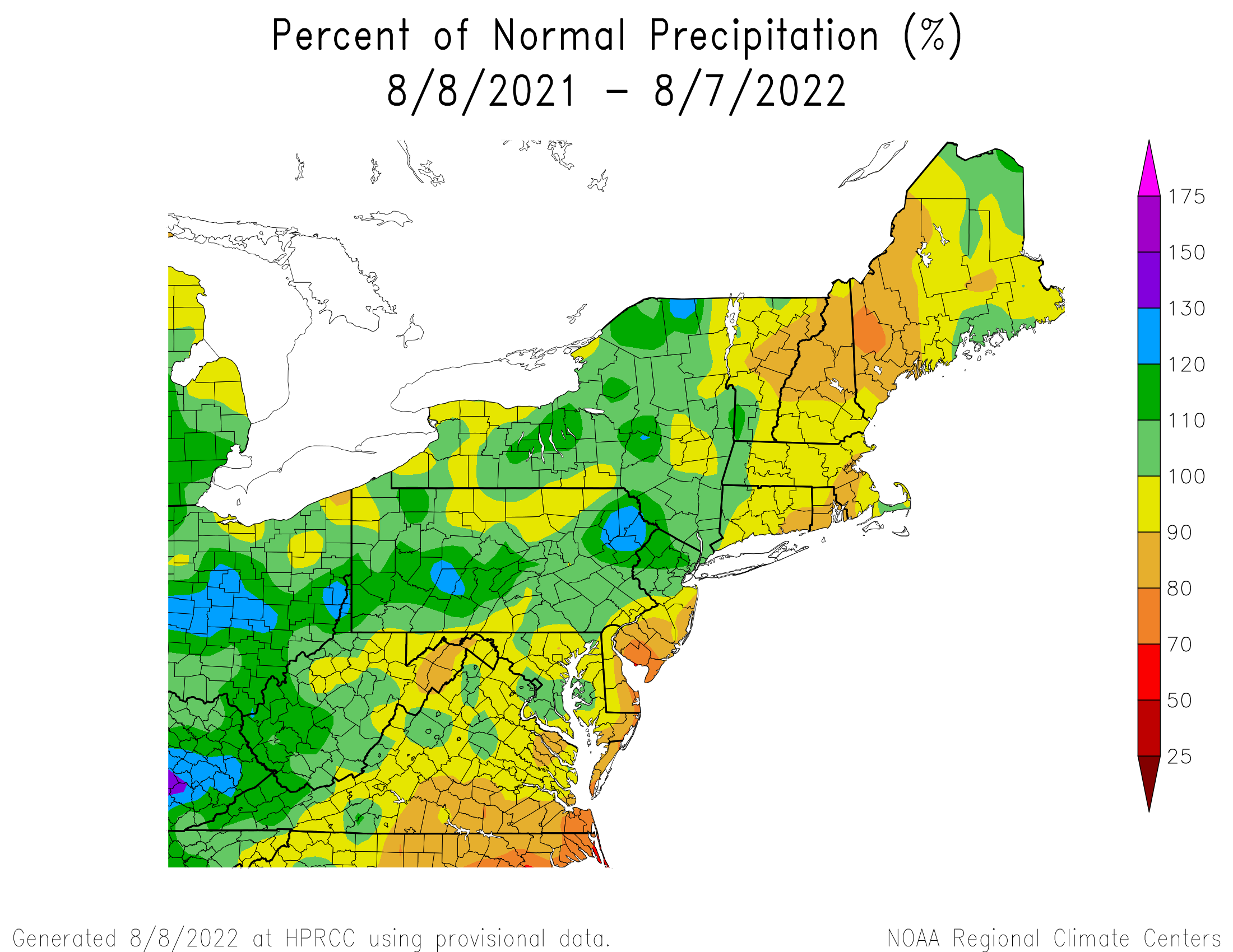 12-Month Precipitation - Percentage of Normal