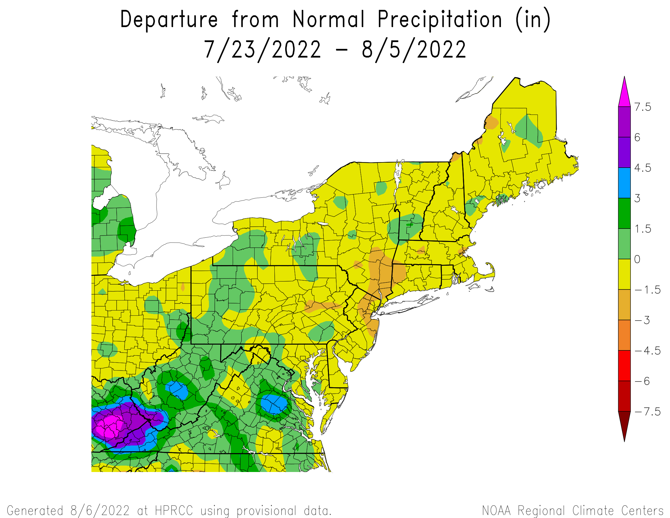 14-Day Total Precipitation Departure