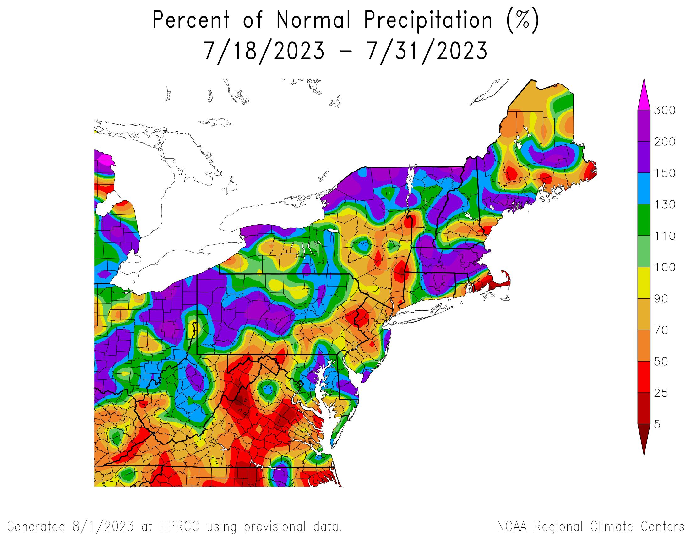 14-Day Precipitation - Percentage of Normal
