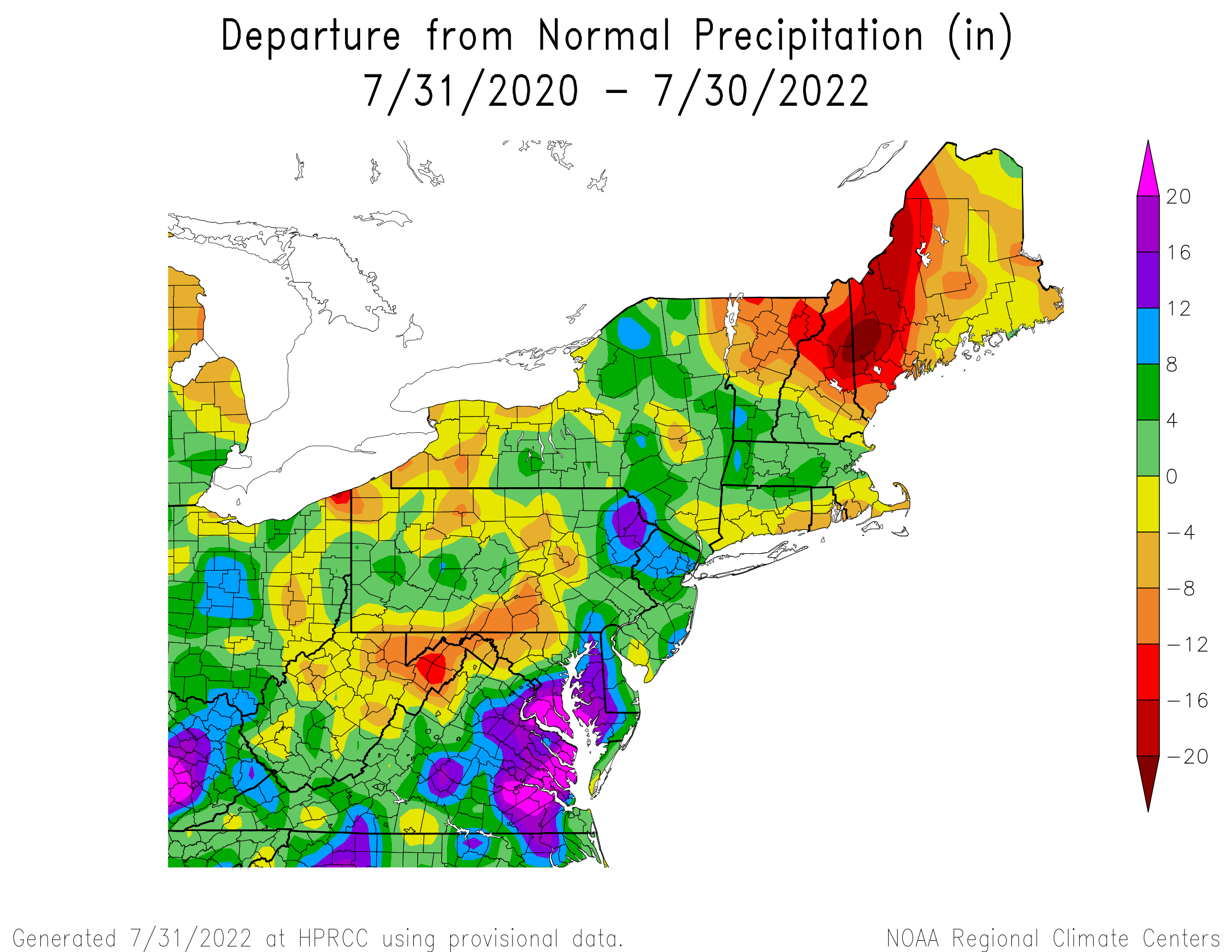 24-Month Total Precipitation Departure
