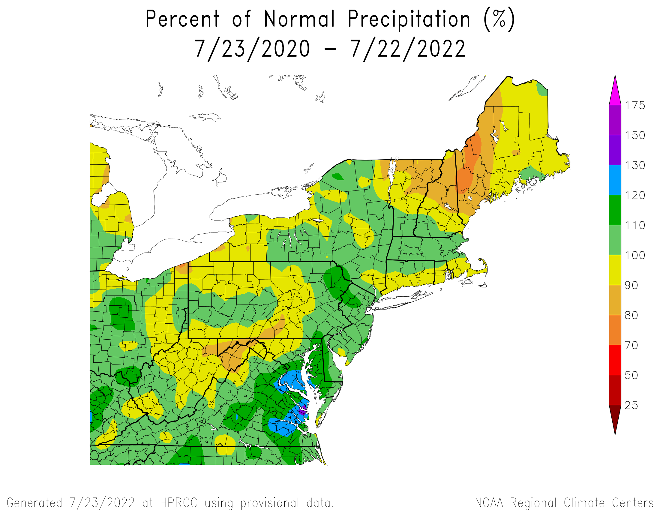 24Month Precipitation - Percentage of Normal