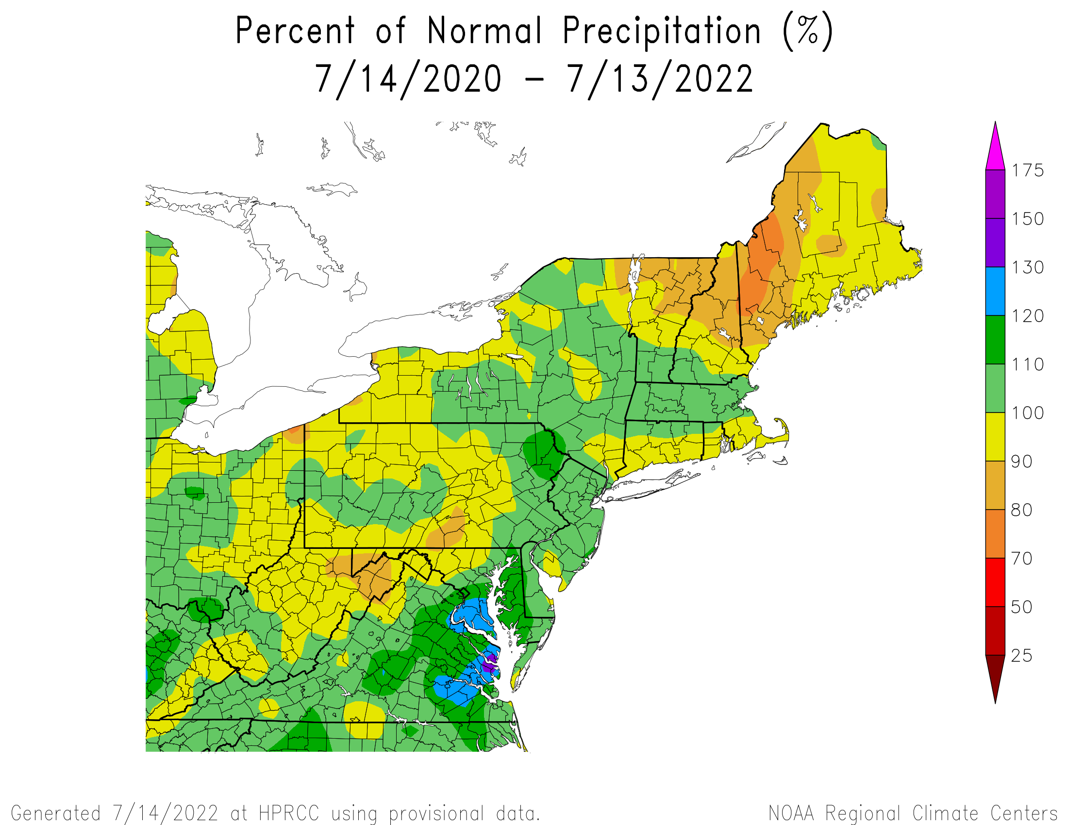 24Month Precipitation - Percentage of Normal