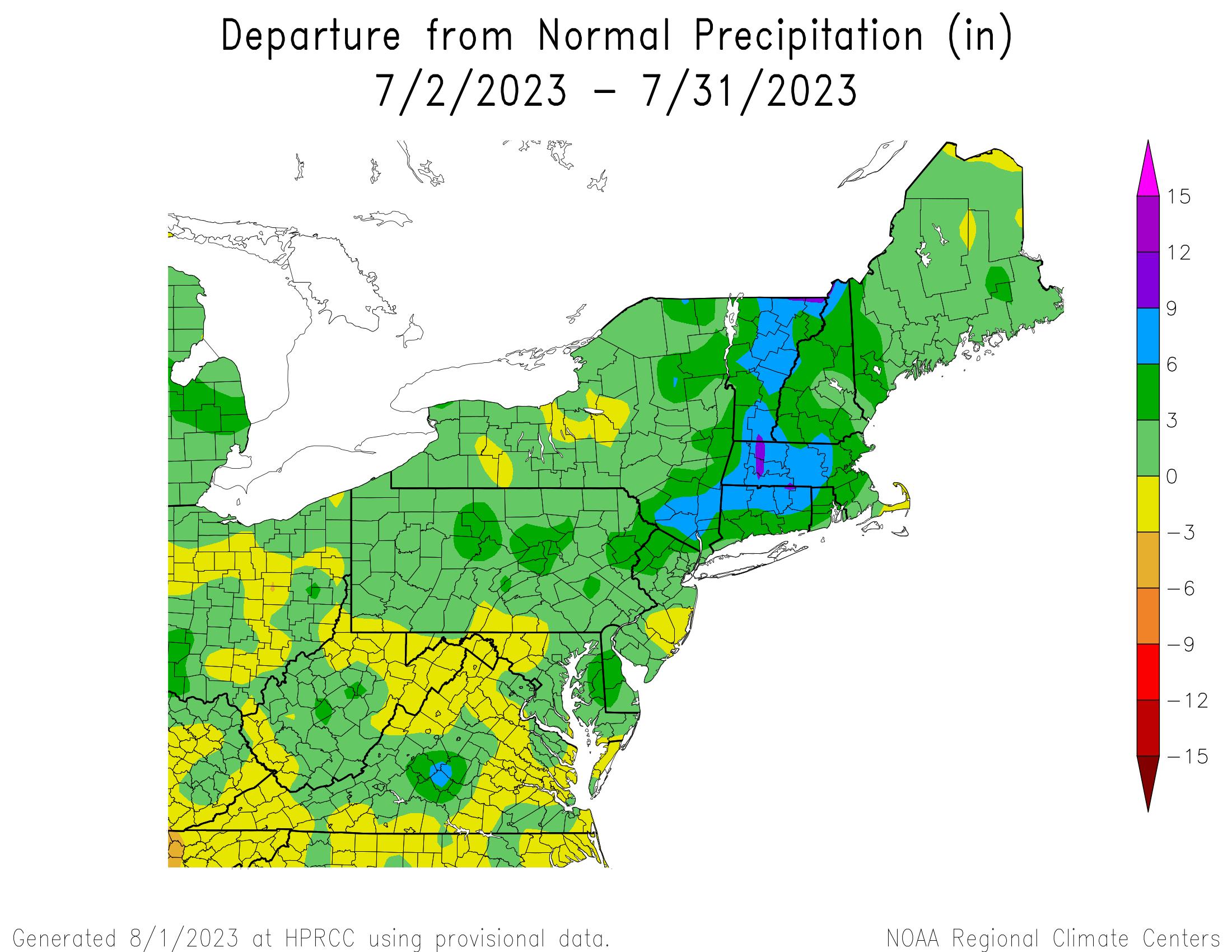 30-Day Total Precipitation Departure