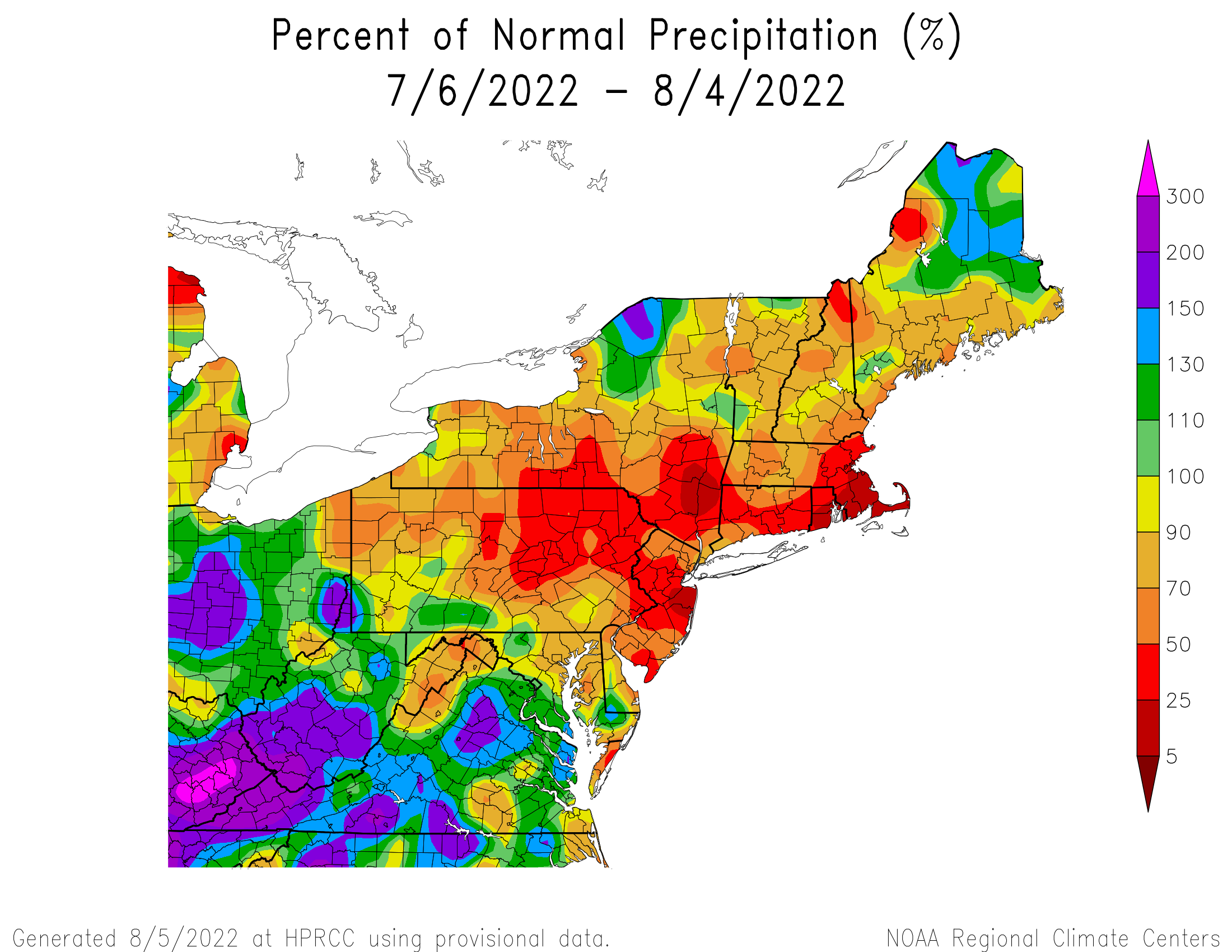 Last months percent of monthly rainfall map