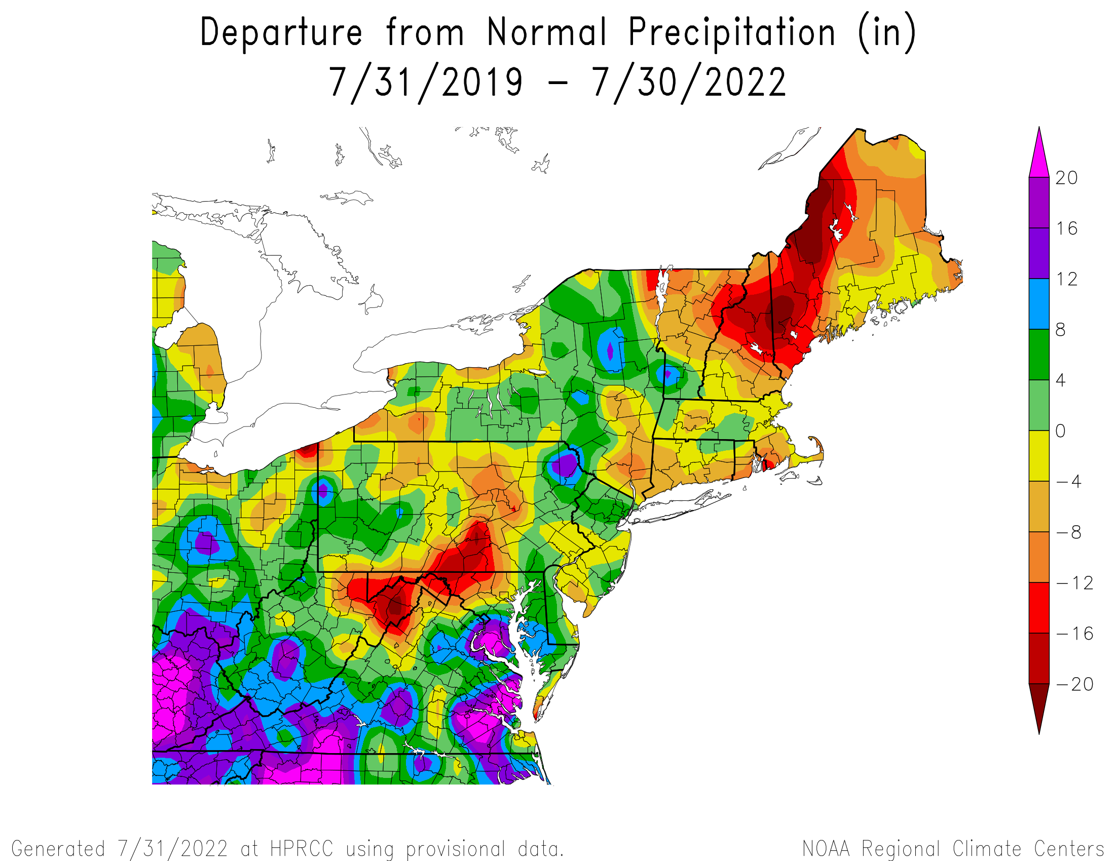 36-Month Total Precipitation Departure