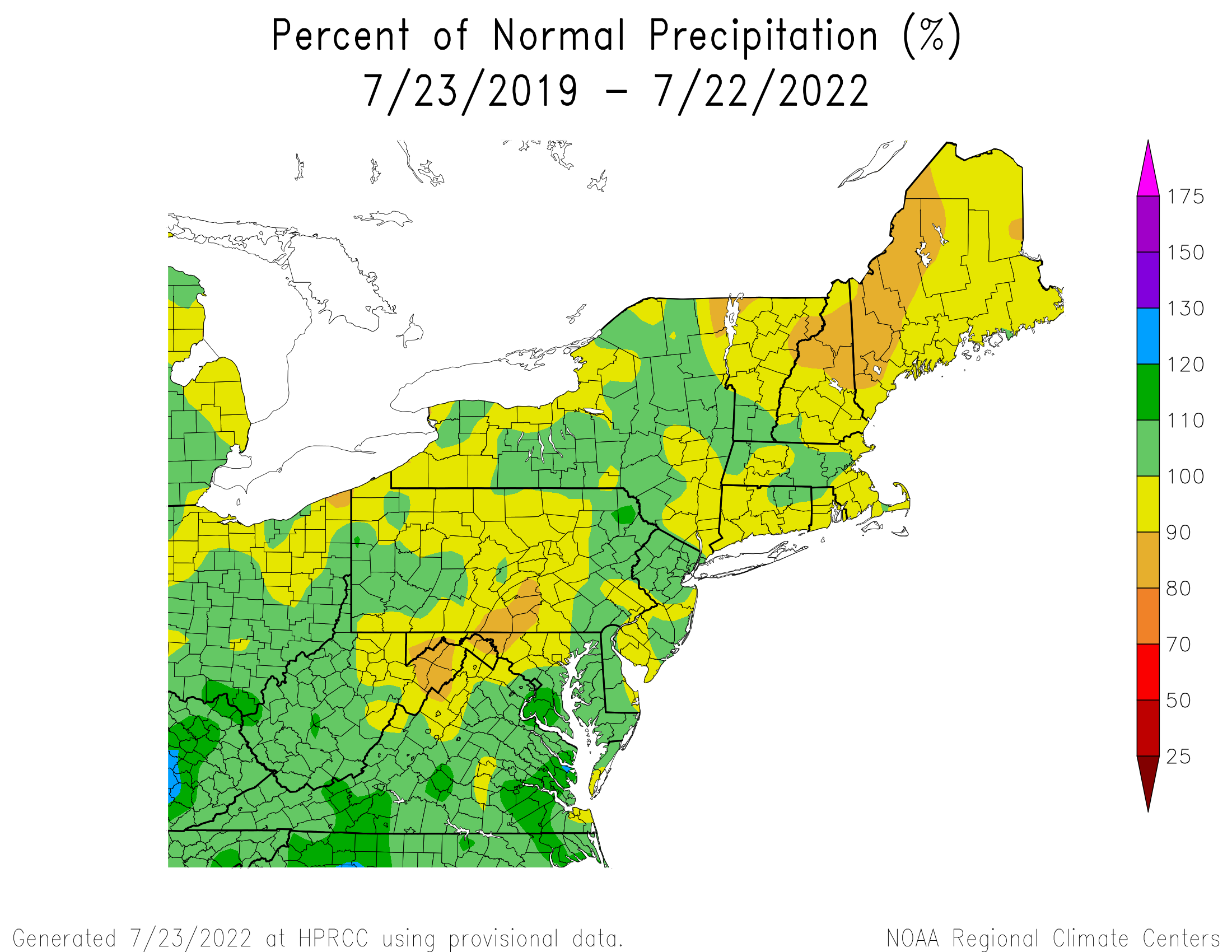 36-Month Precipitation - Percentage of Normal