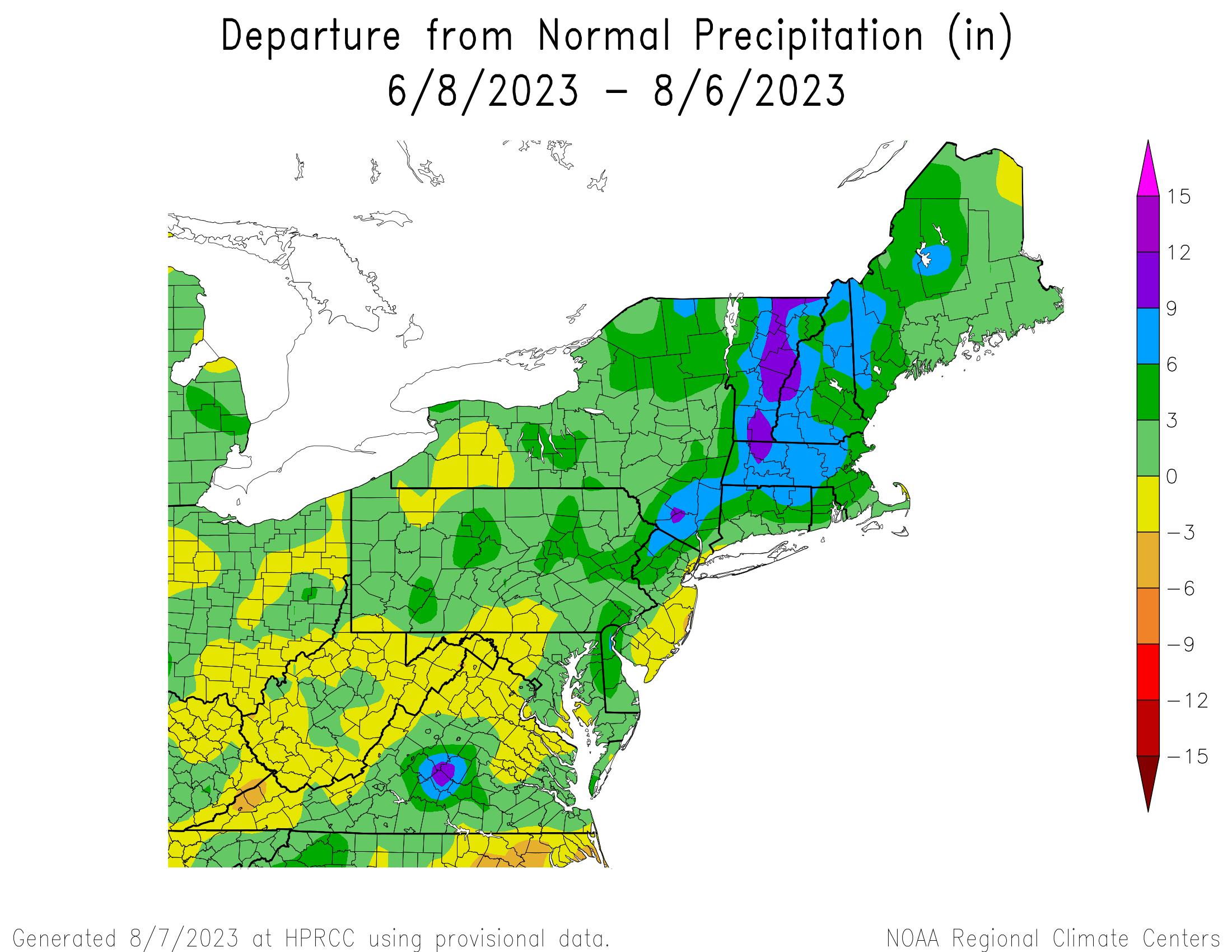 60-Day Total Precipitation Departure
