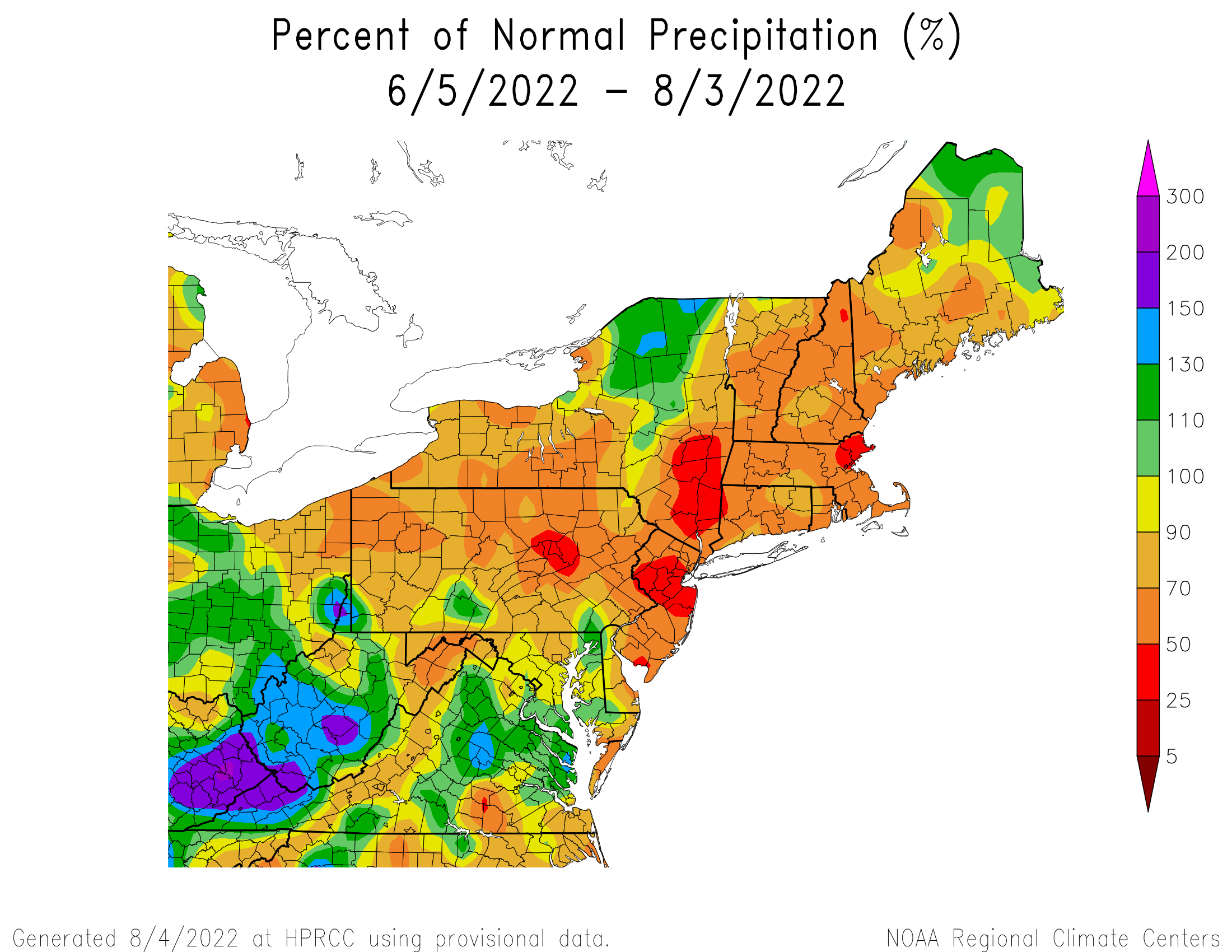 60-Day Precipitation - Percentage of Normal