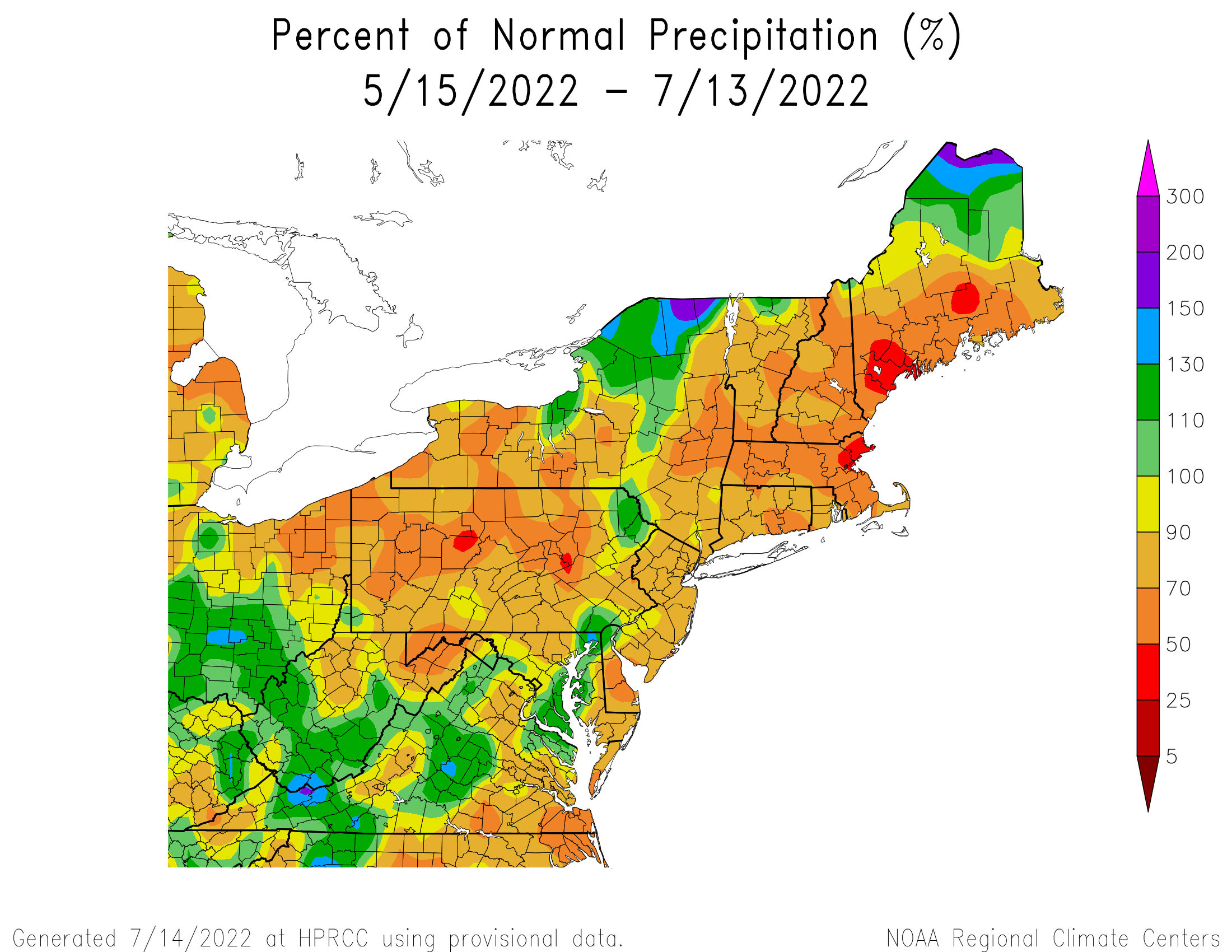 60-Day Precipitation - Percentage of Normal