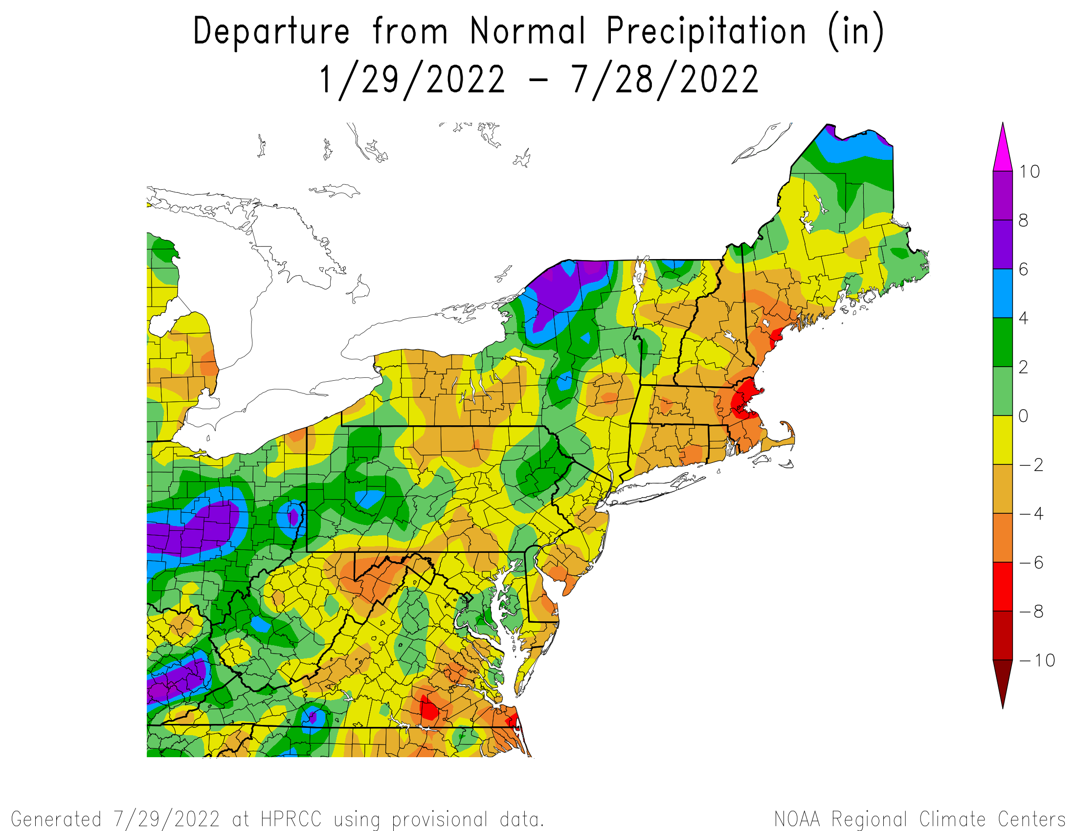 6-Month Total Precipitation Departure