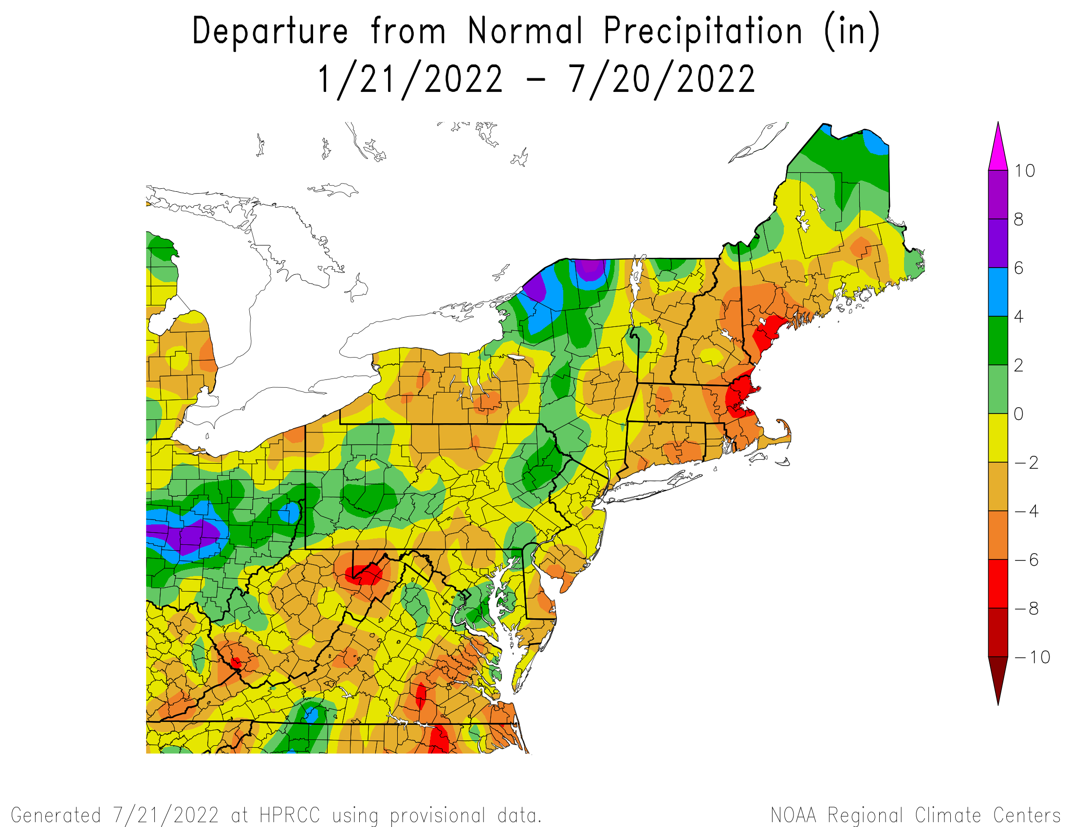 6-Month Total Precipitation Departure