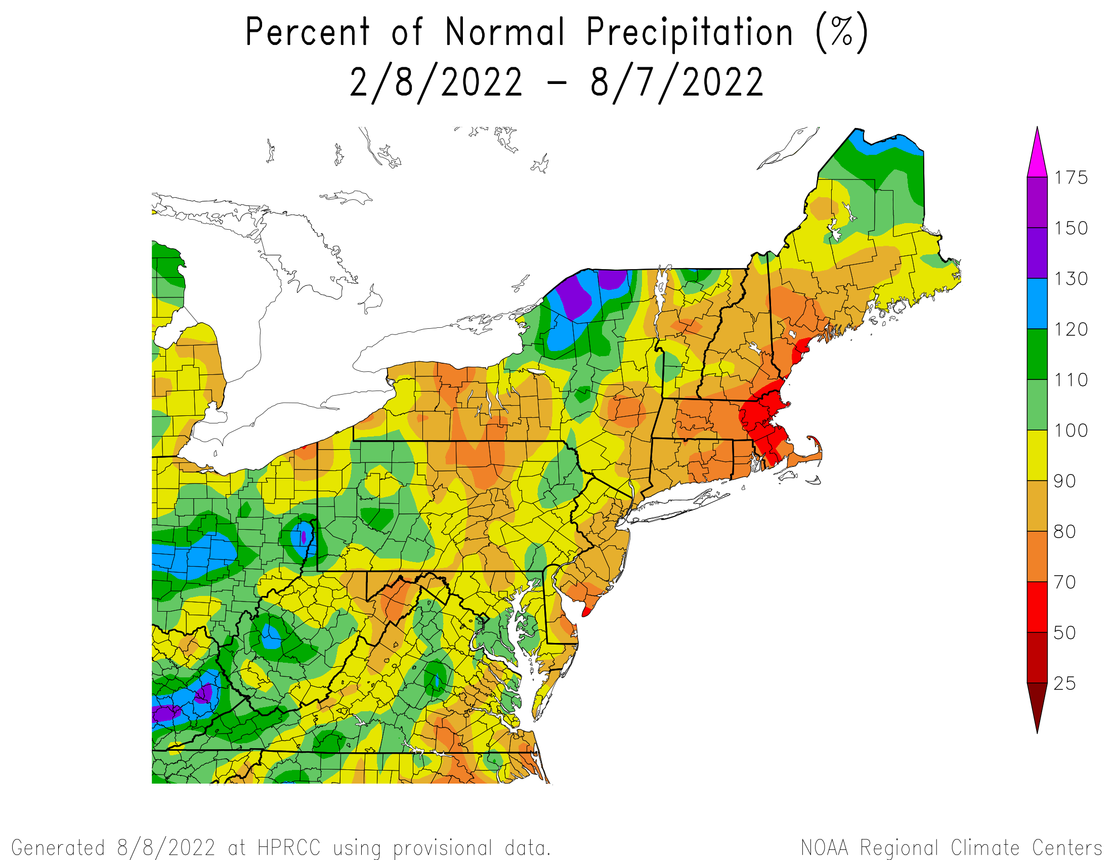 6-Month Precipitation - Percentage of Normal