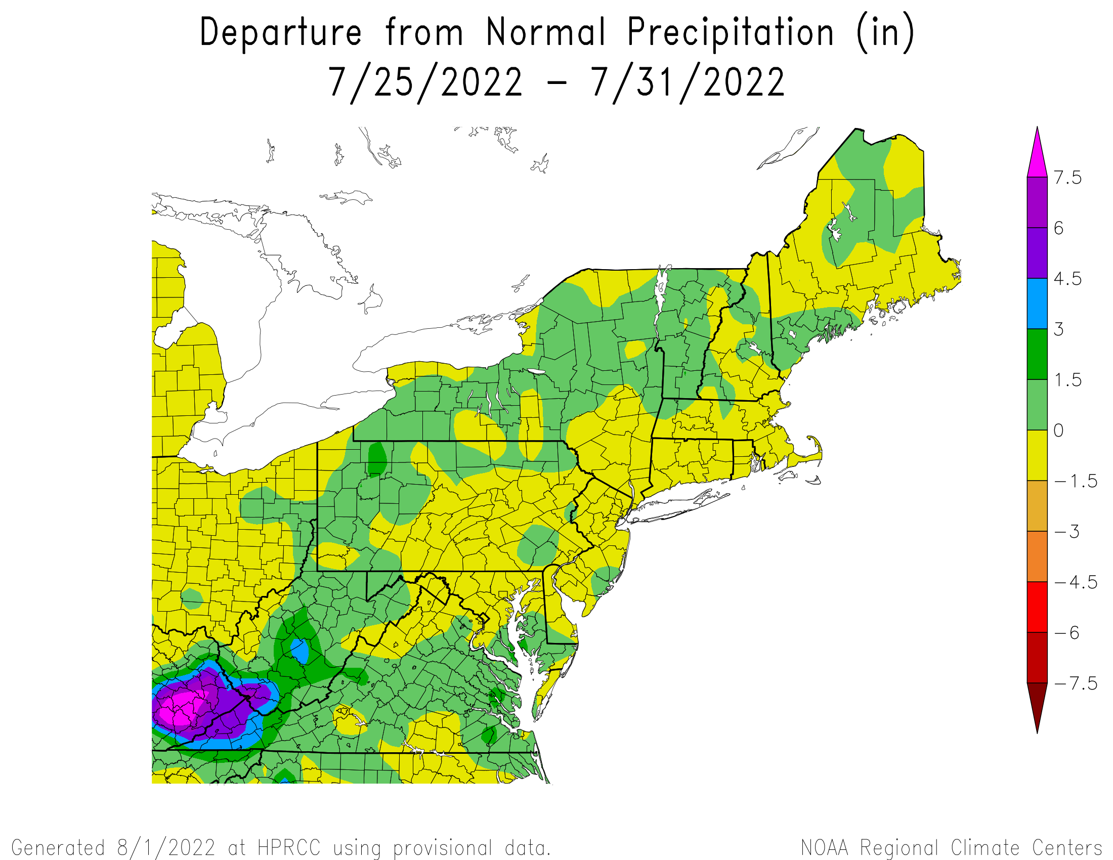 7-Day Total Precipitation Departure