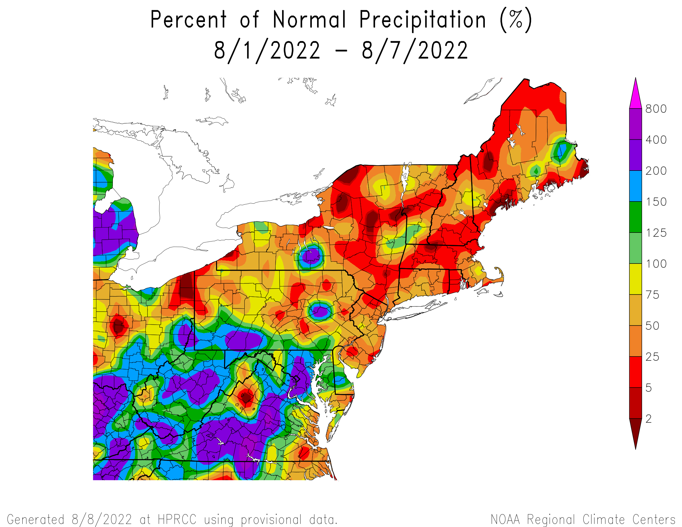 7-Day Precipitation - Percentage of Normal