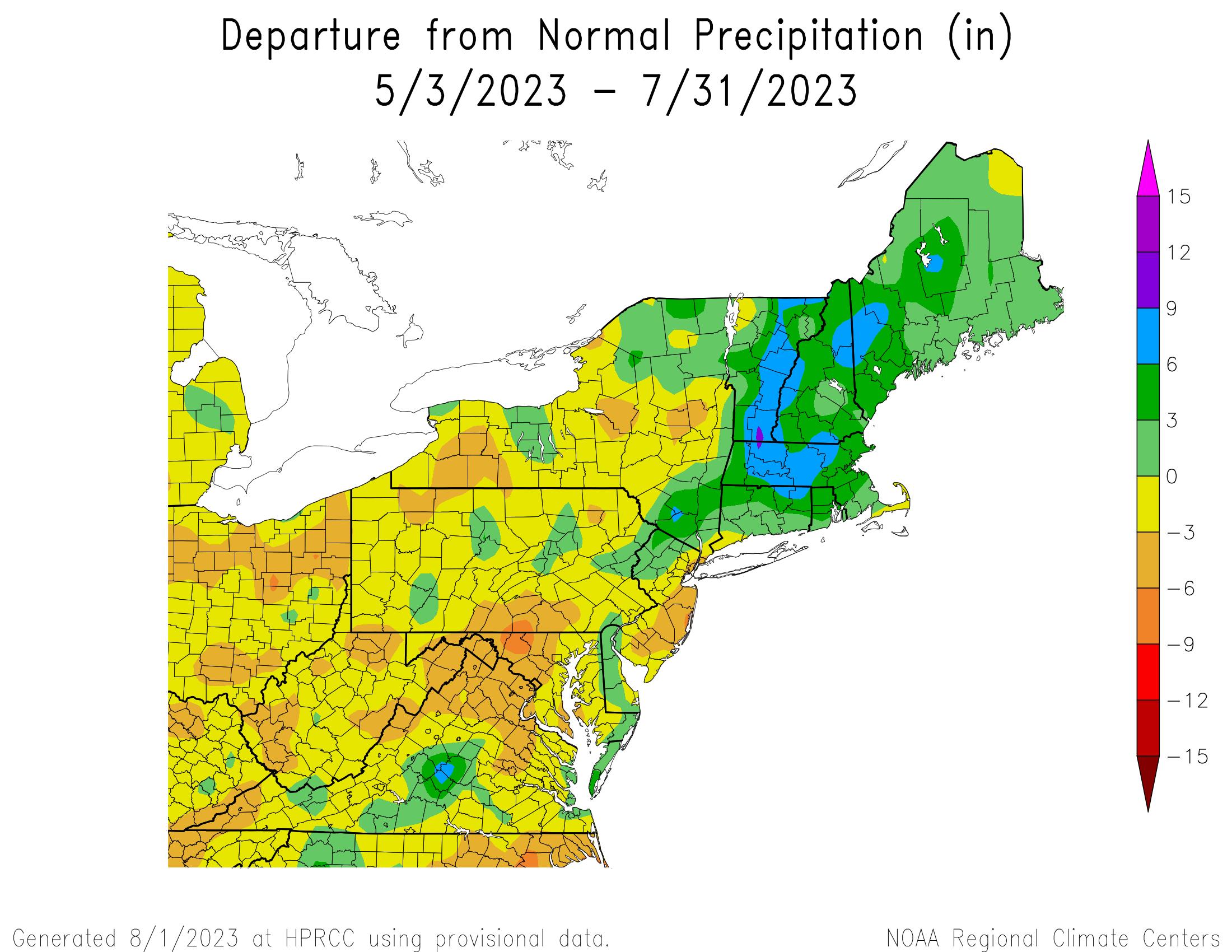 90-Day Total Precipitation Departure