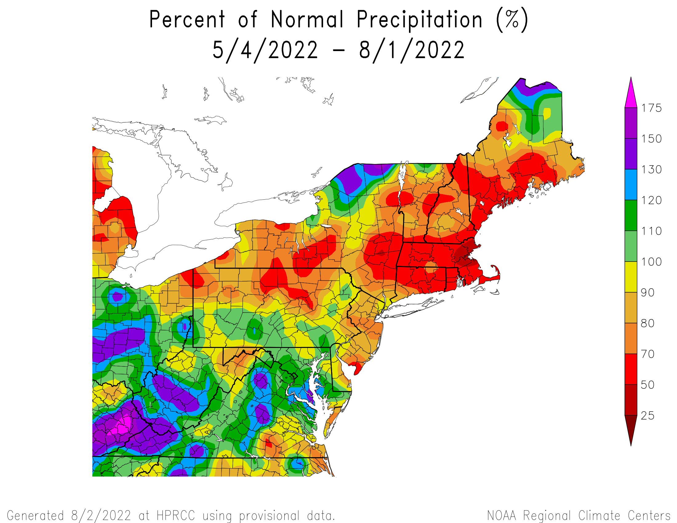 90-Day Precipitation - Percentage of Normal