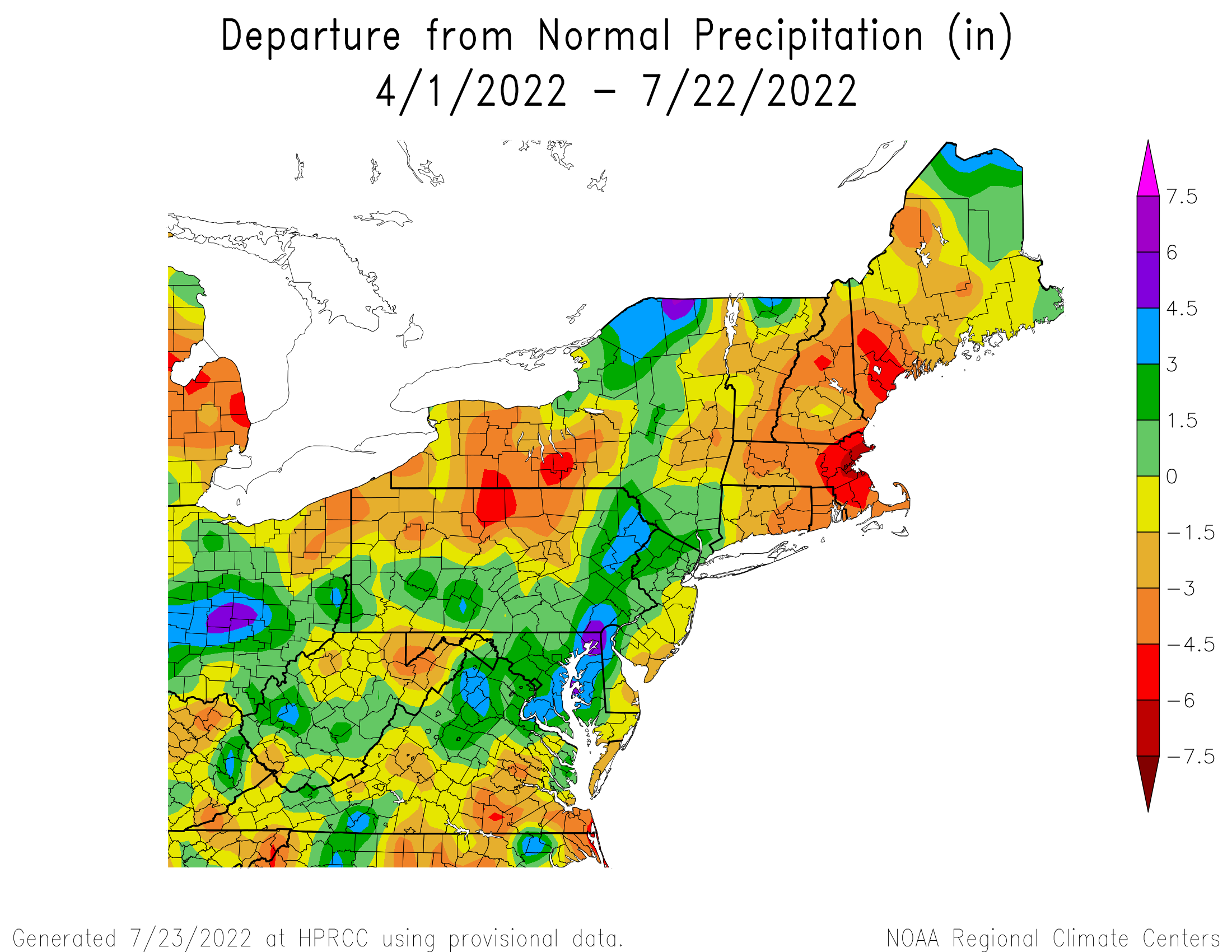 Total Precipitation Departure since April 1st