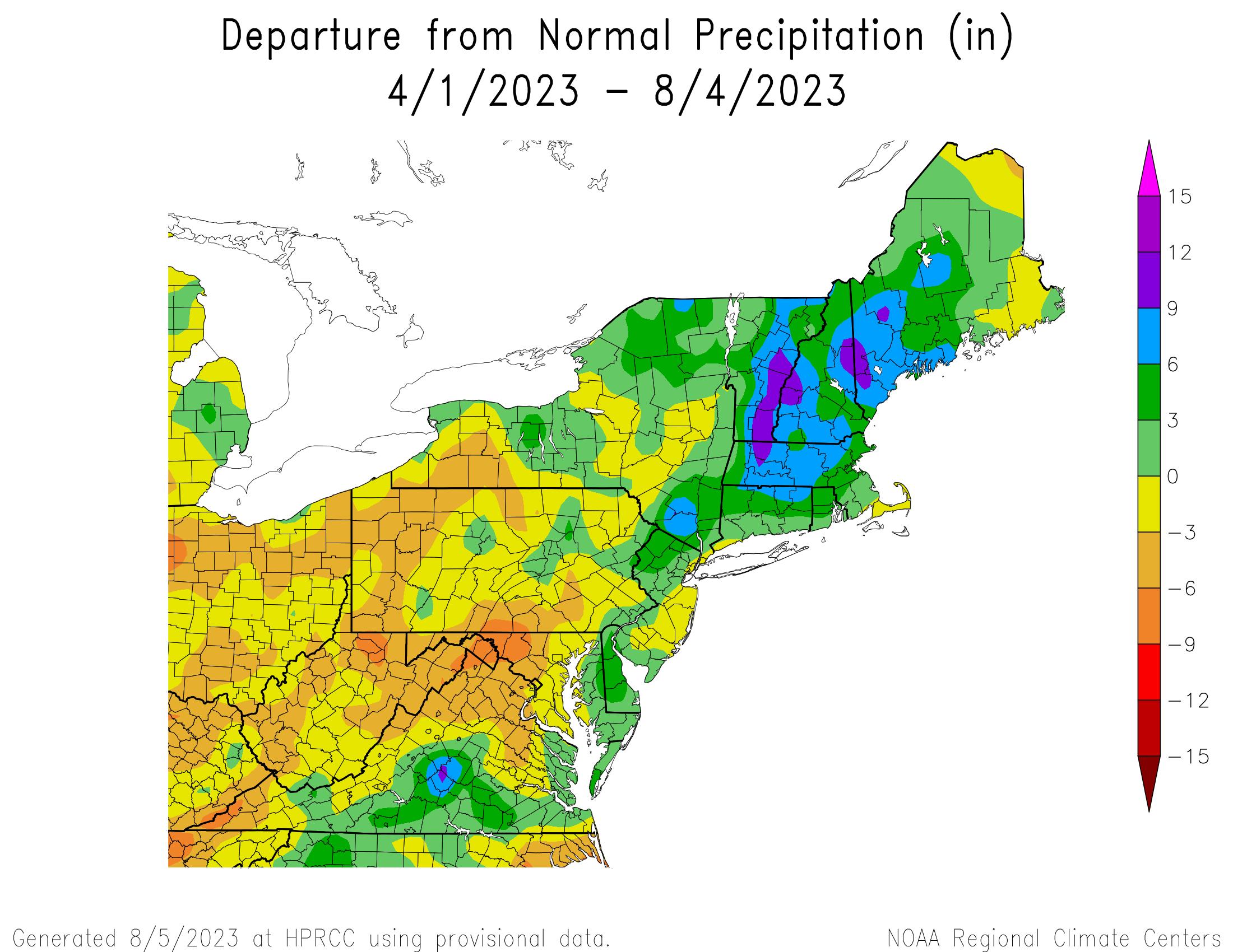 Total Precipitation Departure since April 1st