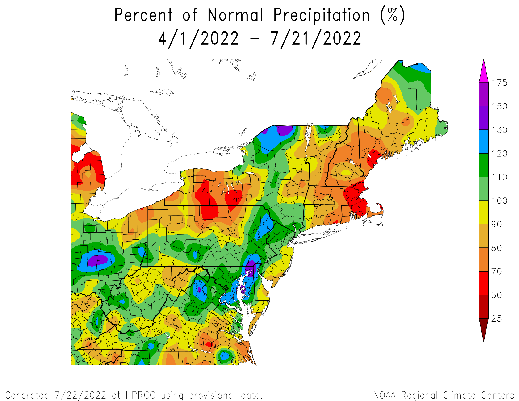 Total Precipitation Since April 1st - Percentage of Normal