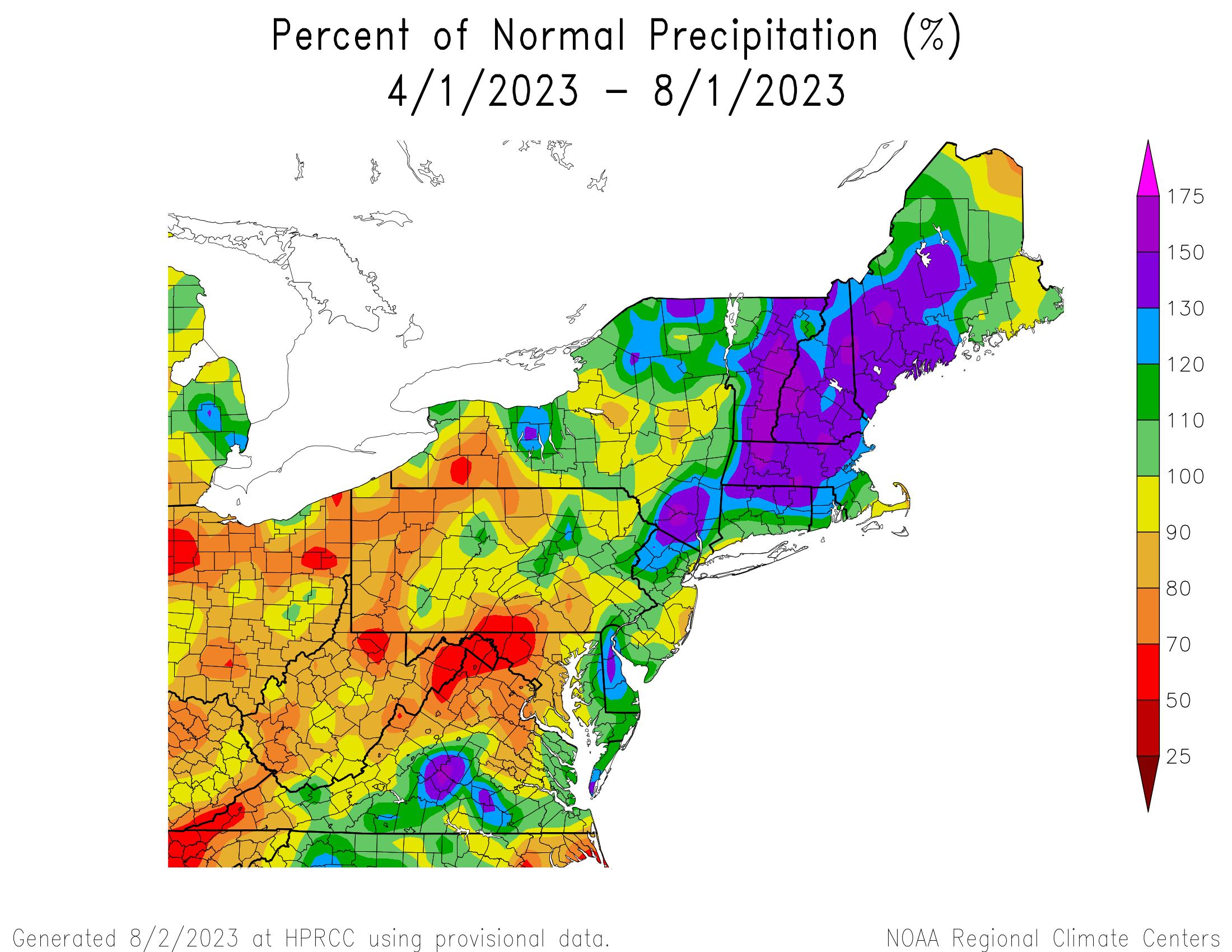Total Precipitation Since April 1st - Percentage of Normal