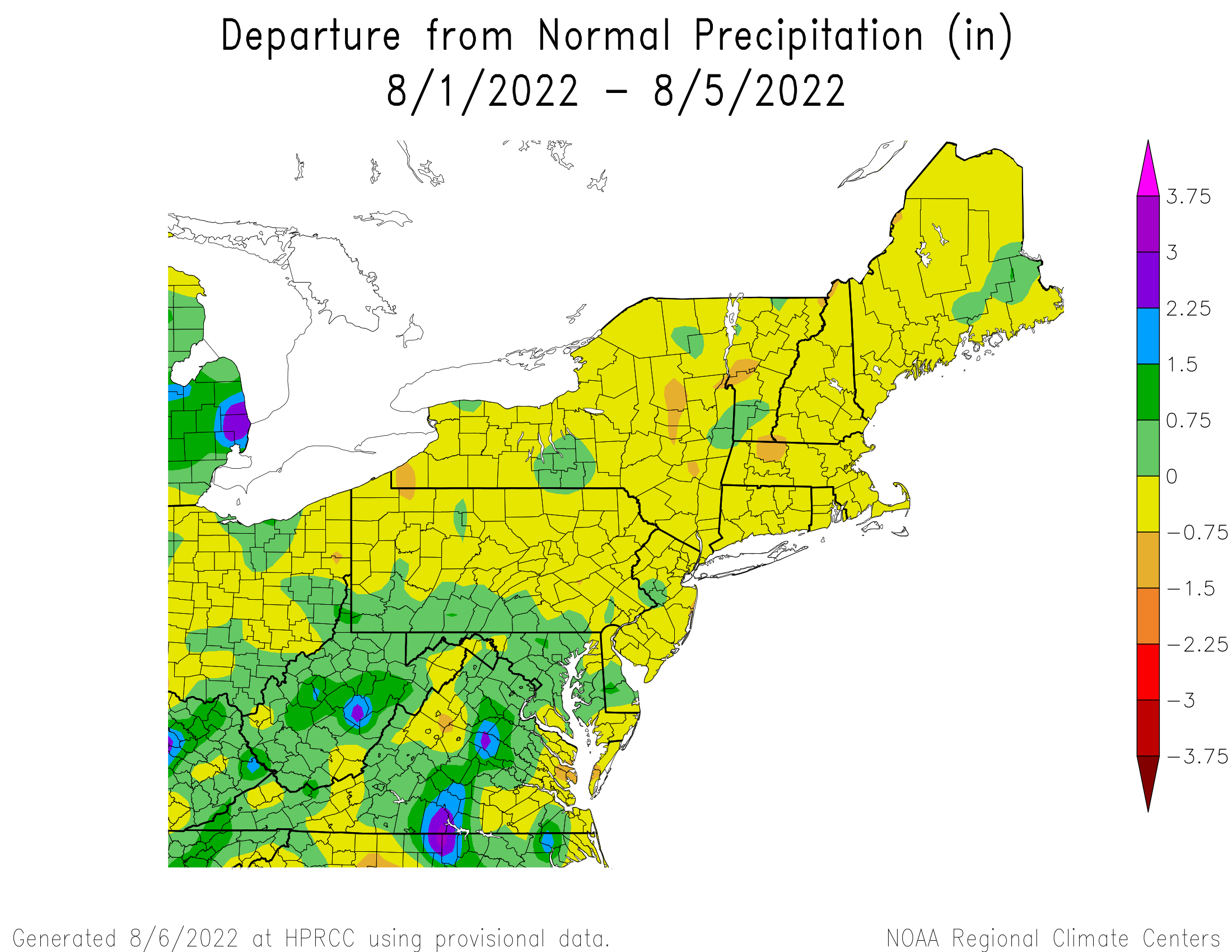 Month-to-Date Total Precipitation Departure