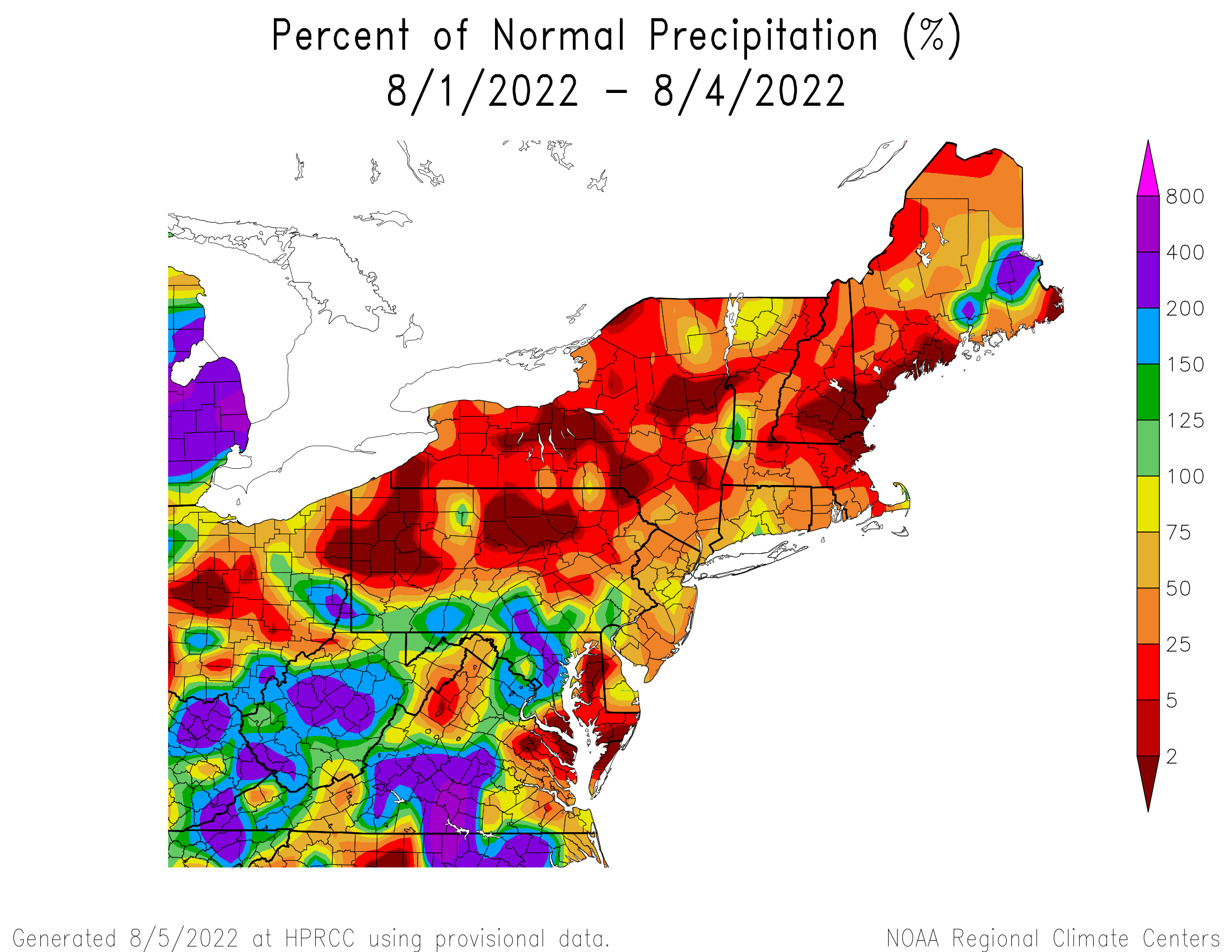 Month-to-Date Precipitation - Percentage of Normal