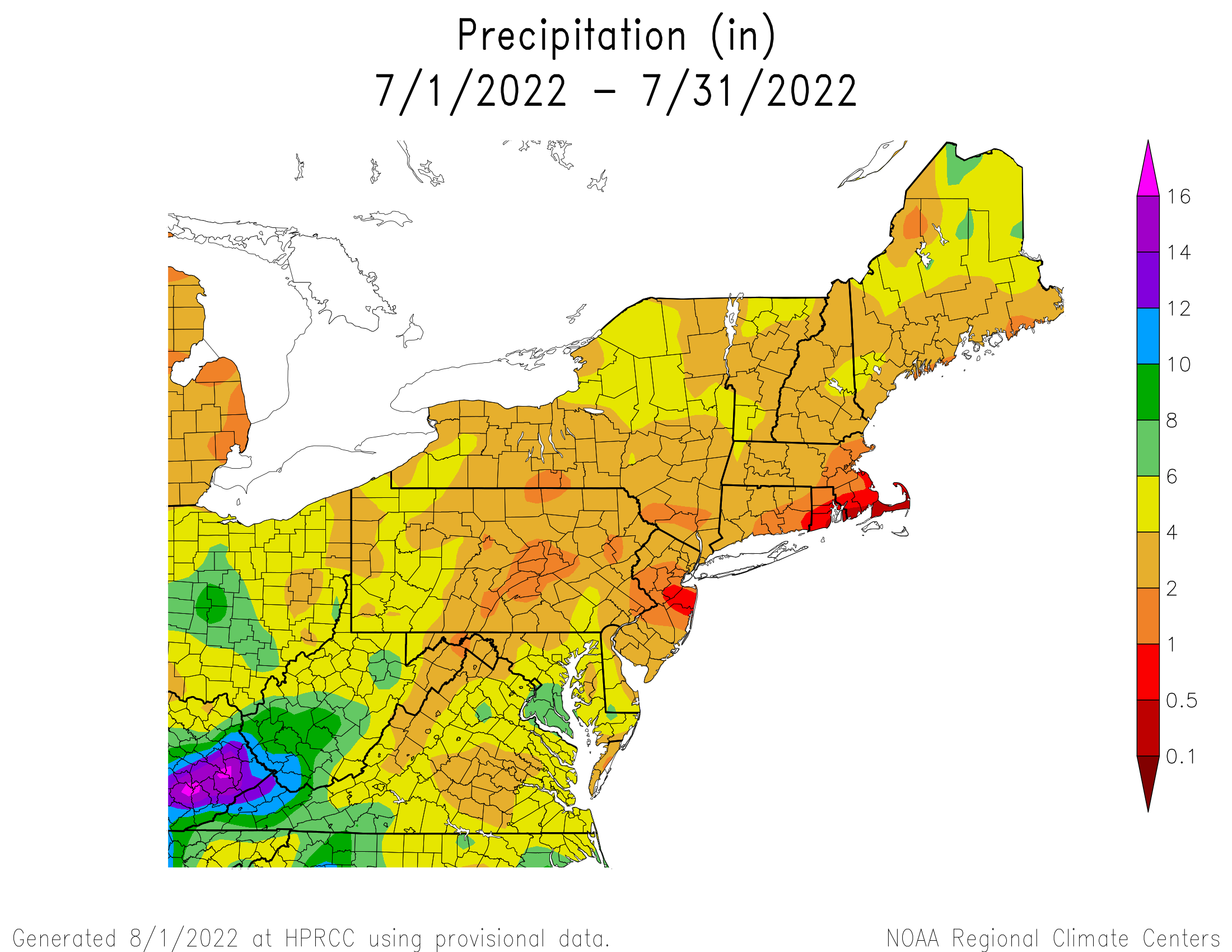 Total Precipitation since July 1st
