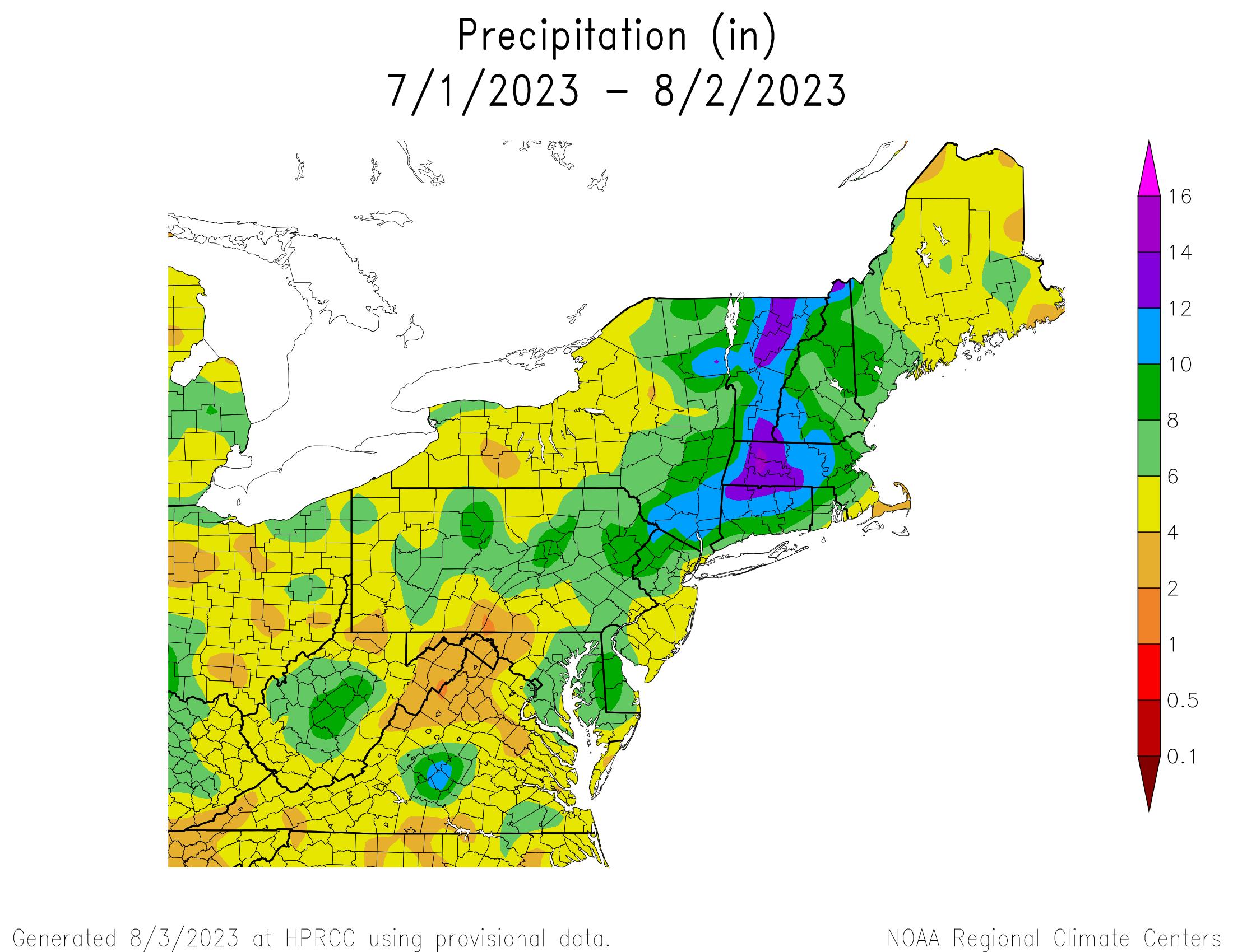 Total Precipitation since July 1st