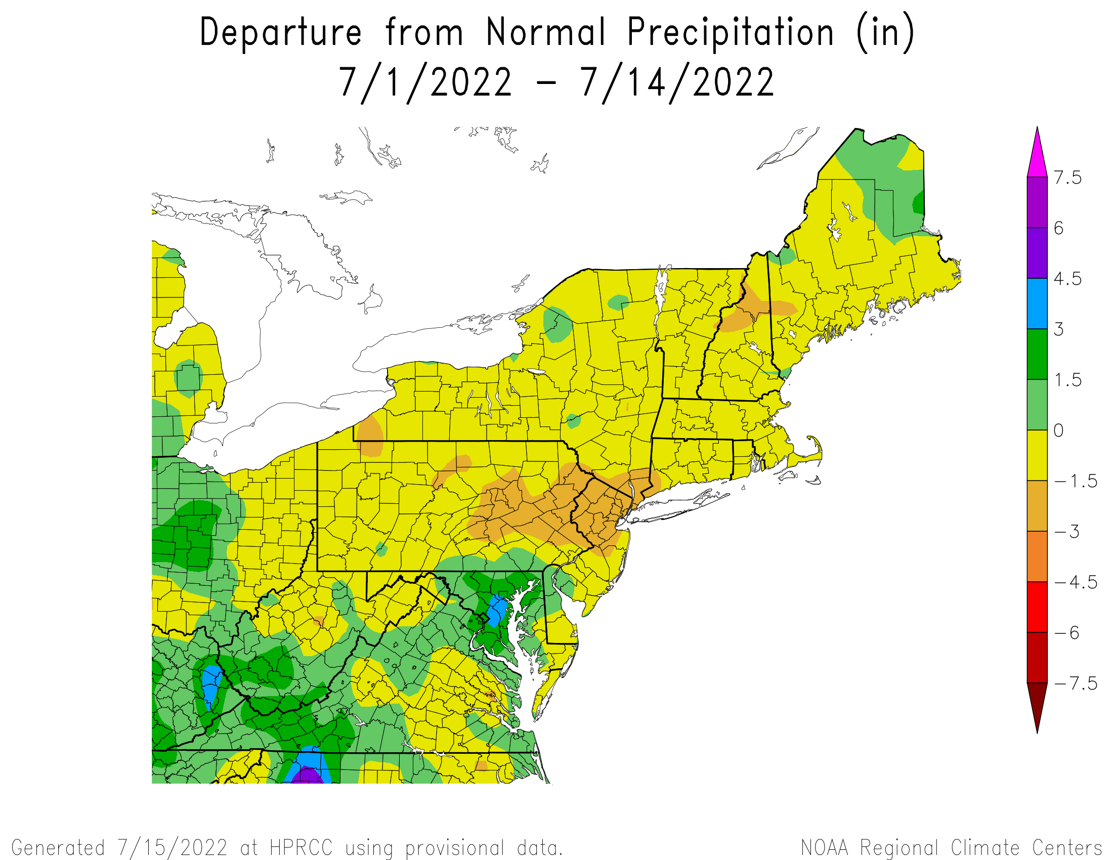 Total Precipitation Departure since July 1st