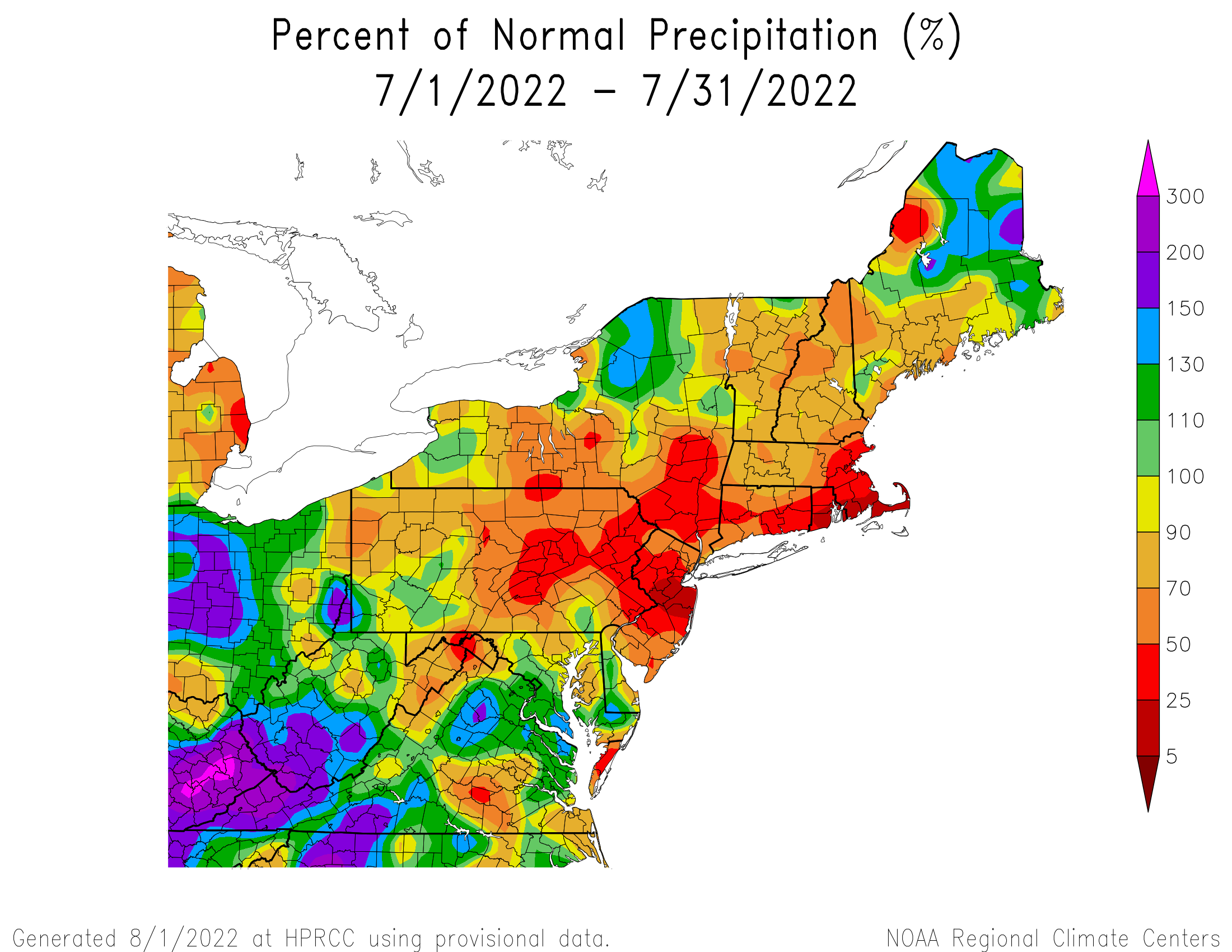 Total Precipitation Since July 1st - Percentage of Normal