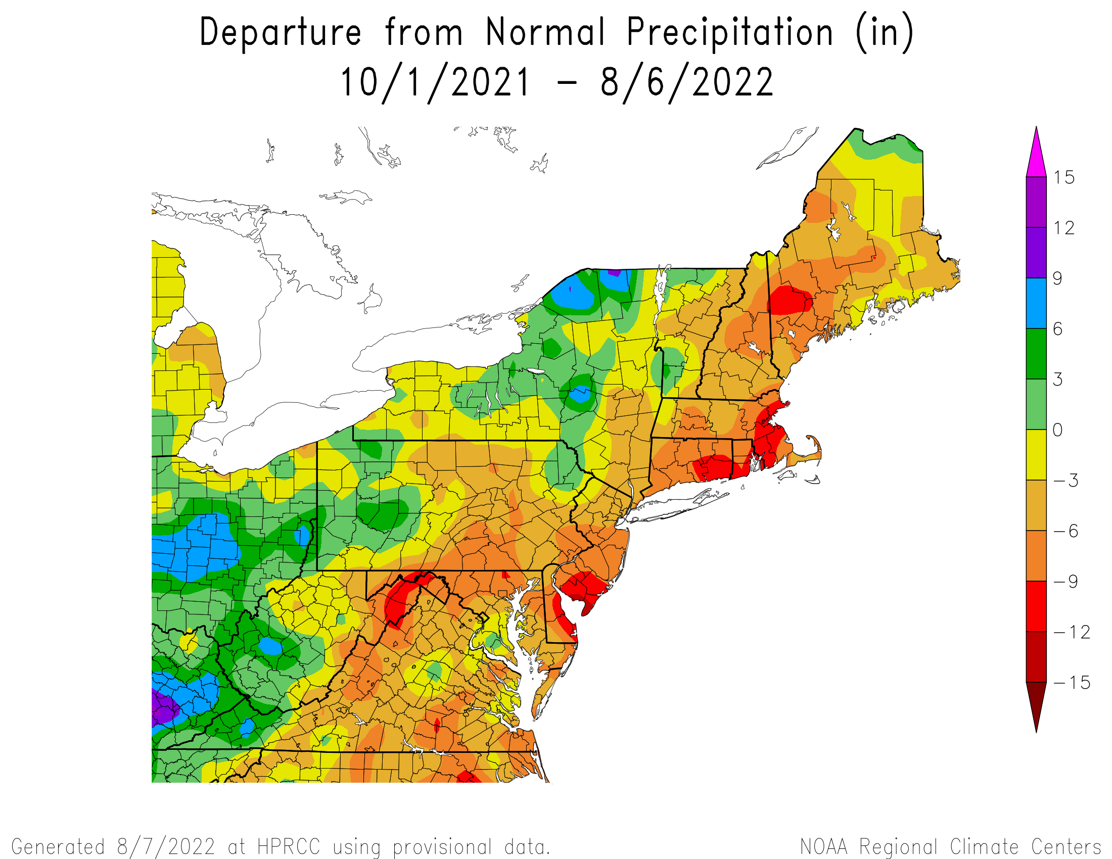 Water-Year Total Precipitation Departure
