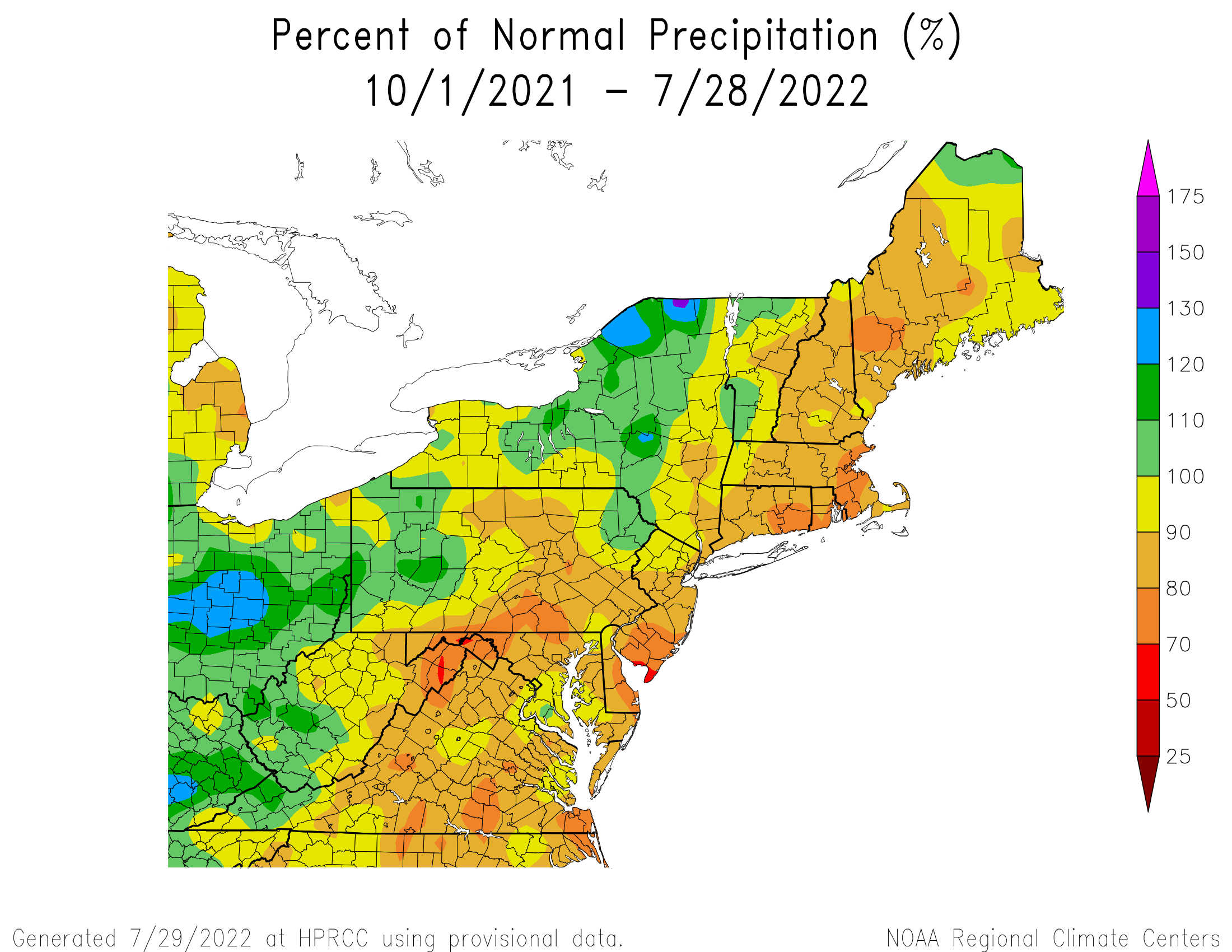 Water-Year Precipitation - Percentage of Normal