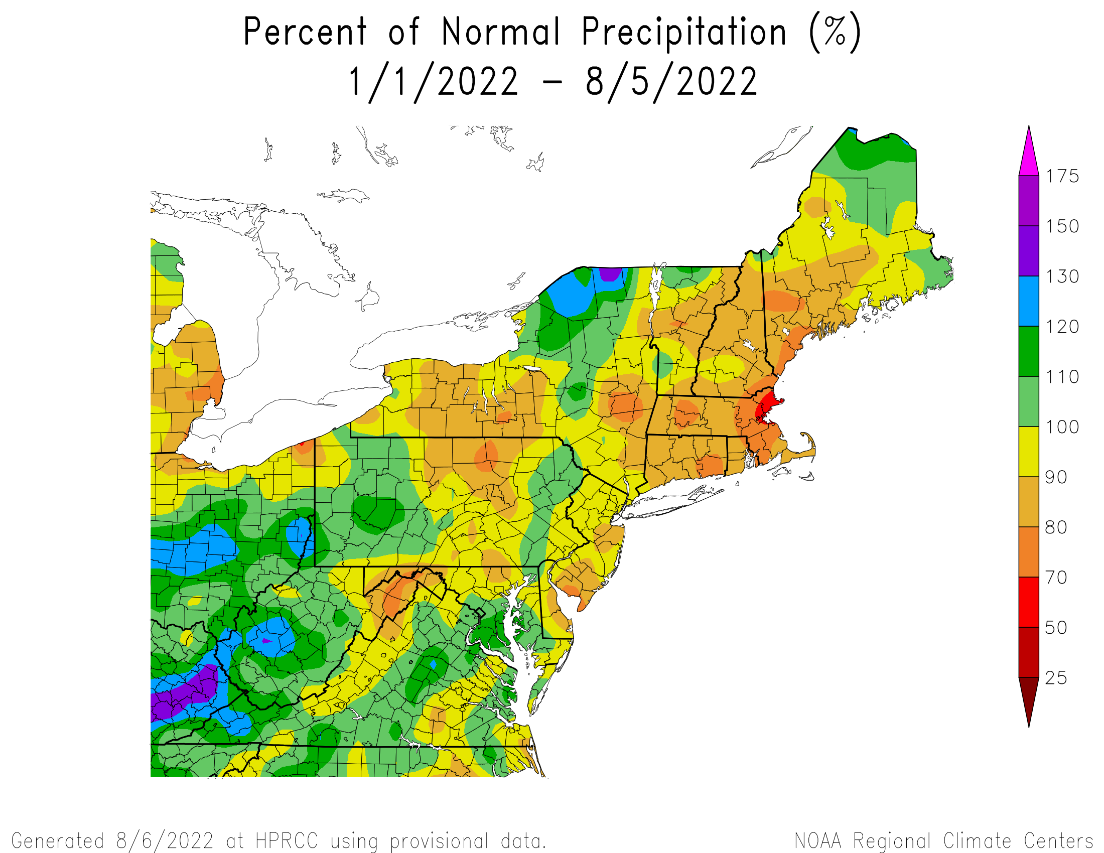 Year-to-Date Precipitation - Percentage of Normal